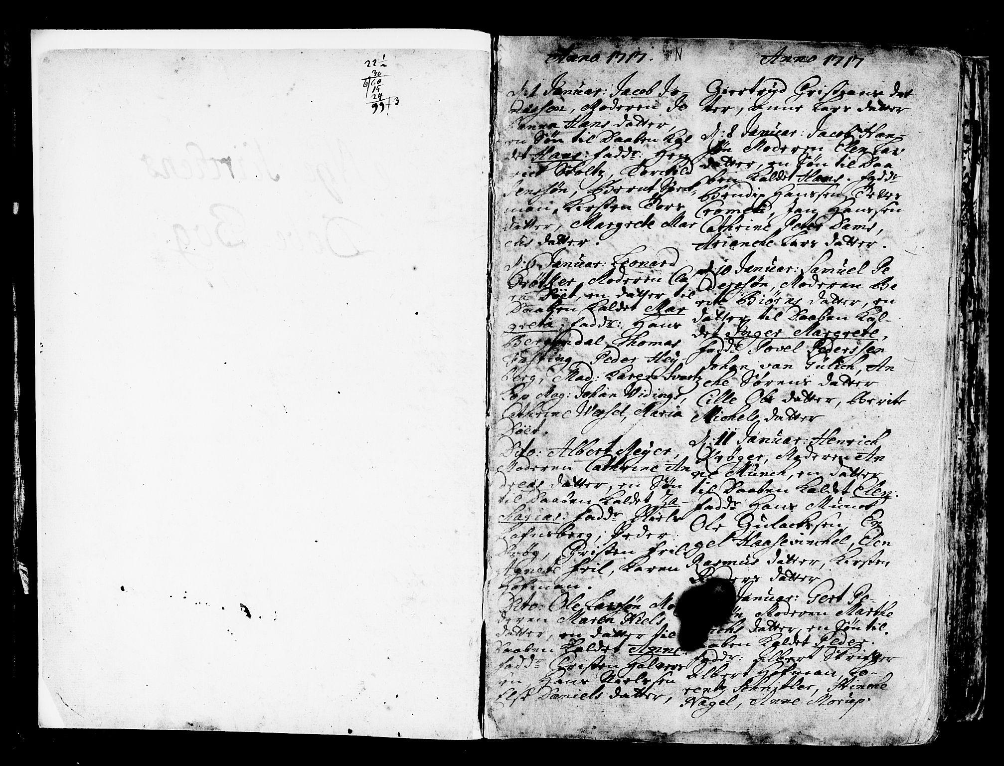 SAB, Nykirken Sokneprestembete, H/Haa: Ministerialbok nr. A 3, 1717-1764, s. 2