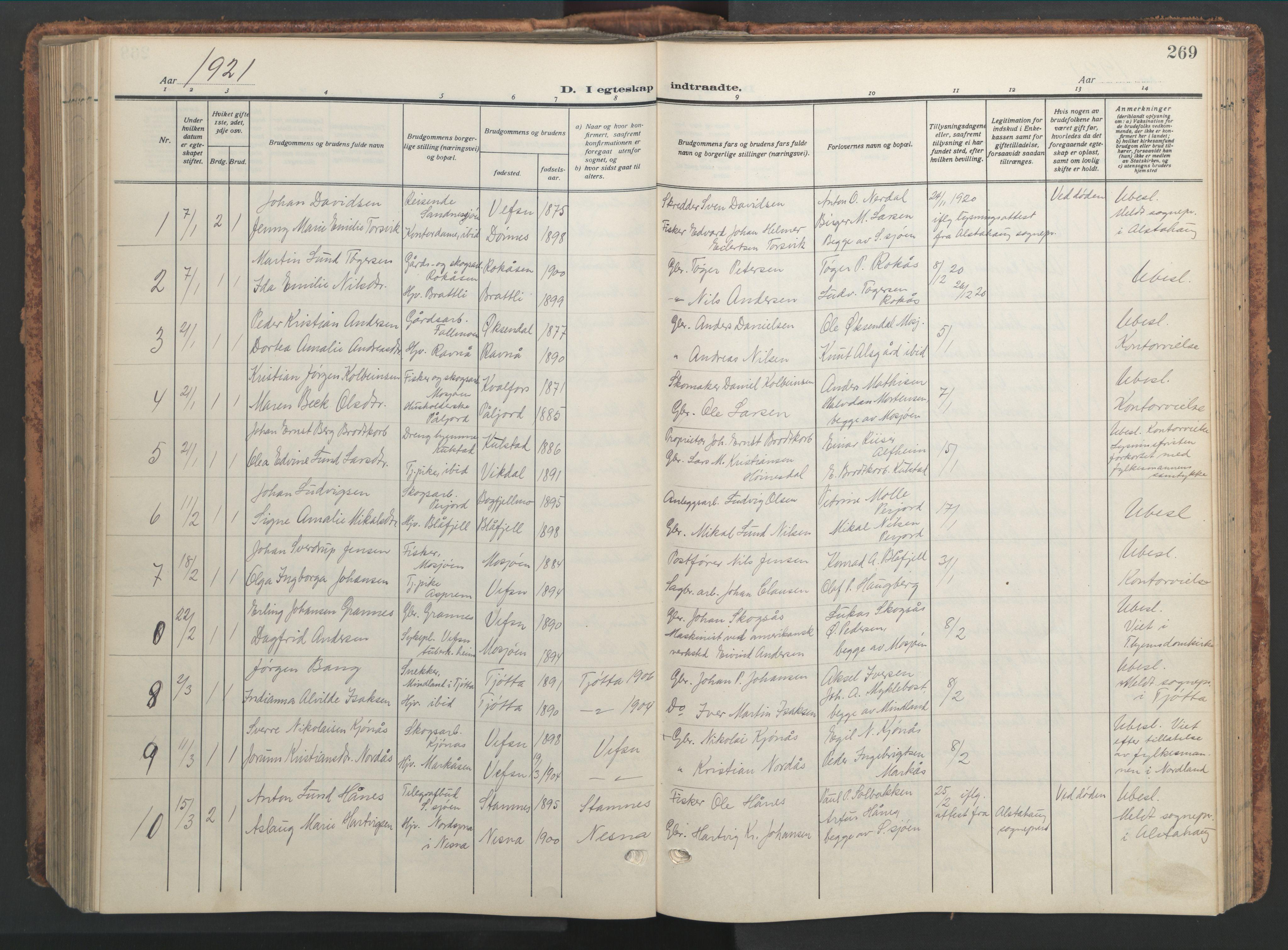 SAT, Ministerialprotokoller, klokkerbøker og fødselsregistre - Nordland, 820/L0302: Klokkerbok nr. 820C04, 1917-1948, s. 269