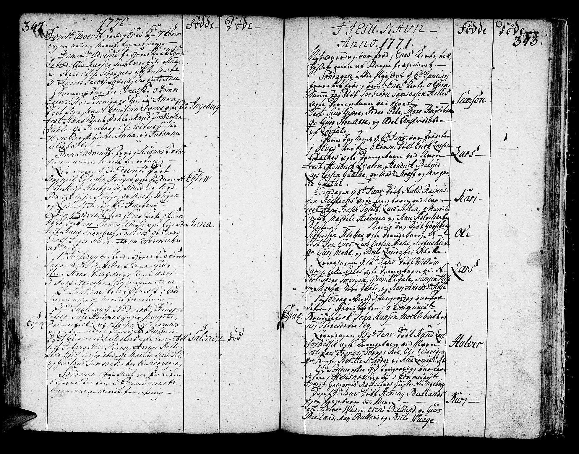 SAB, Kvinnherad Sokneprestembete, H/Haa: Ministerialbok nr. A 3, 1754-1777, s. 342-343