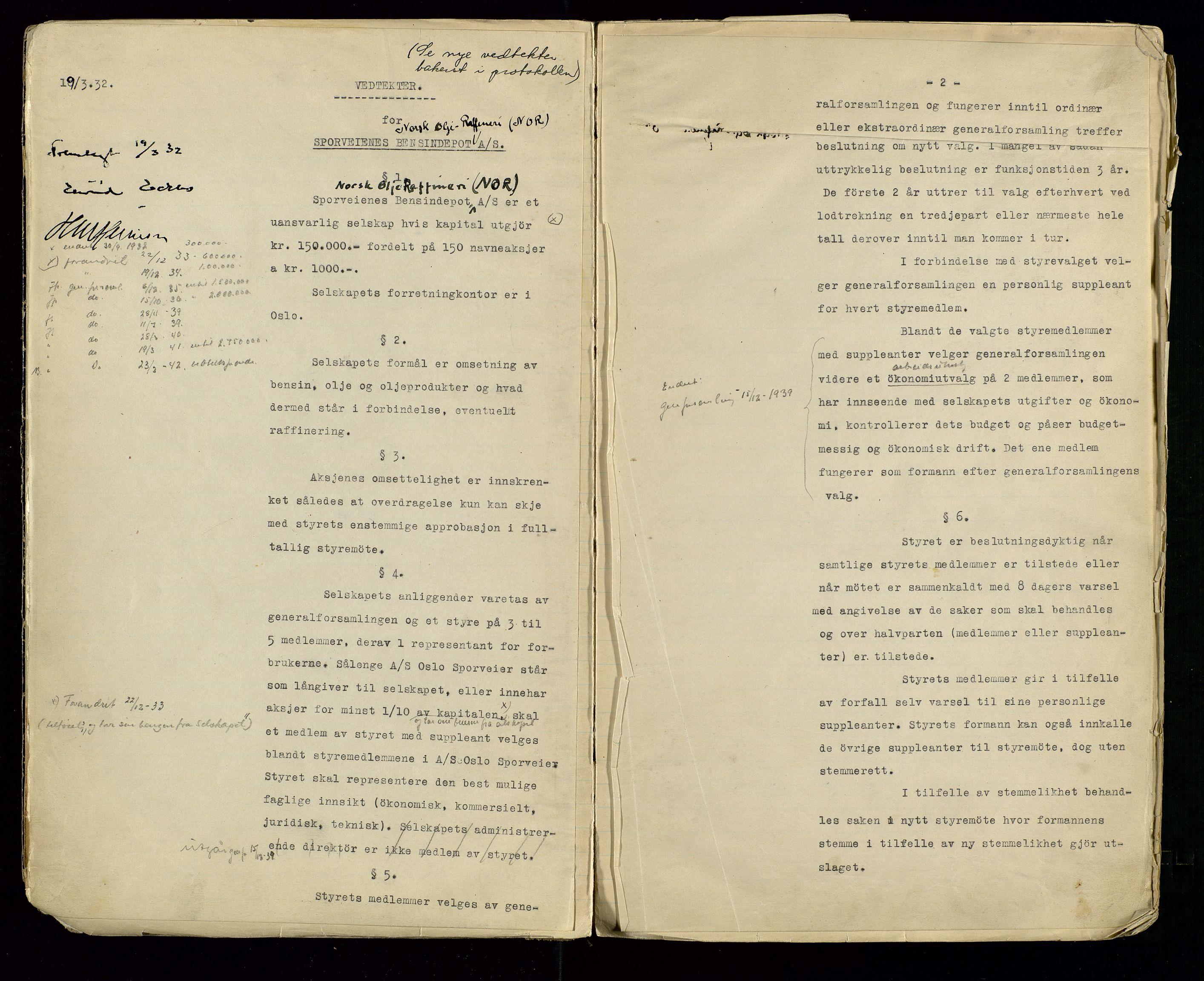 SAST, PA 1514 - Sporveienes Bensindepot, Norsk Oljeraffineri A/S, A/L0001: Styreprotokoll. Forhandlingsprotokoll Arbeidsutvaget, 1932-1949, s. 5