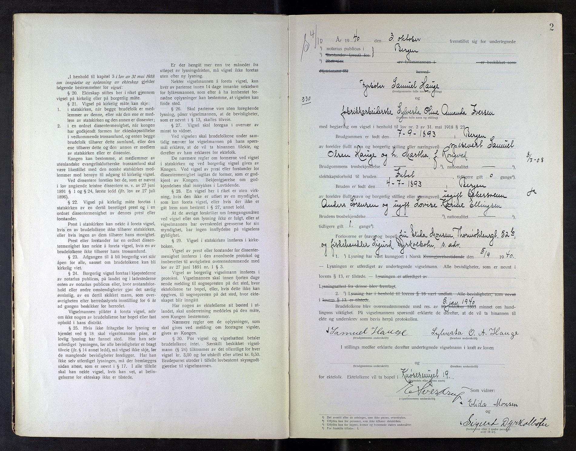 SAB, Byfogd og Byskriver i Bergen, 10/10F/L0018: Vielsesprotokoller, 1940-1941, s. 2