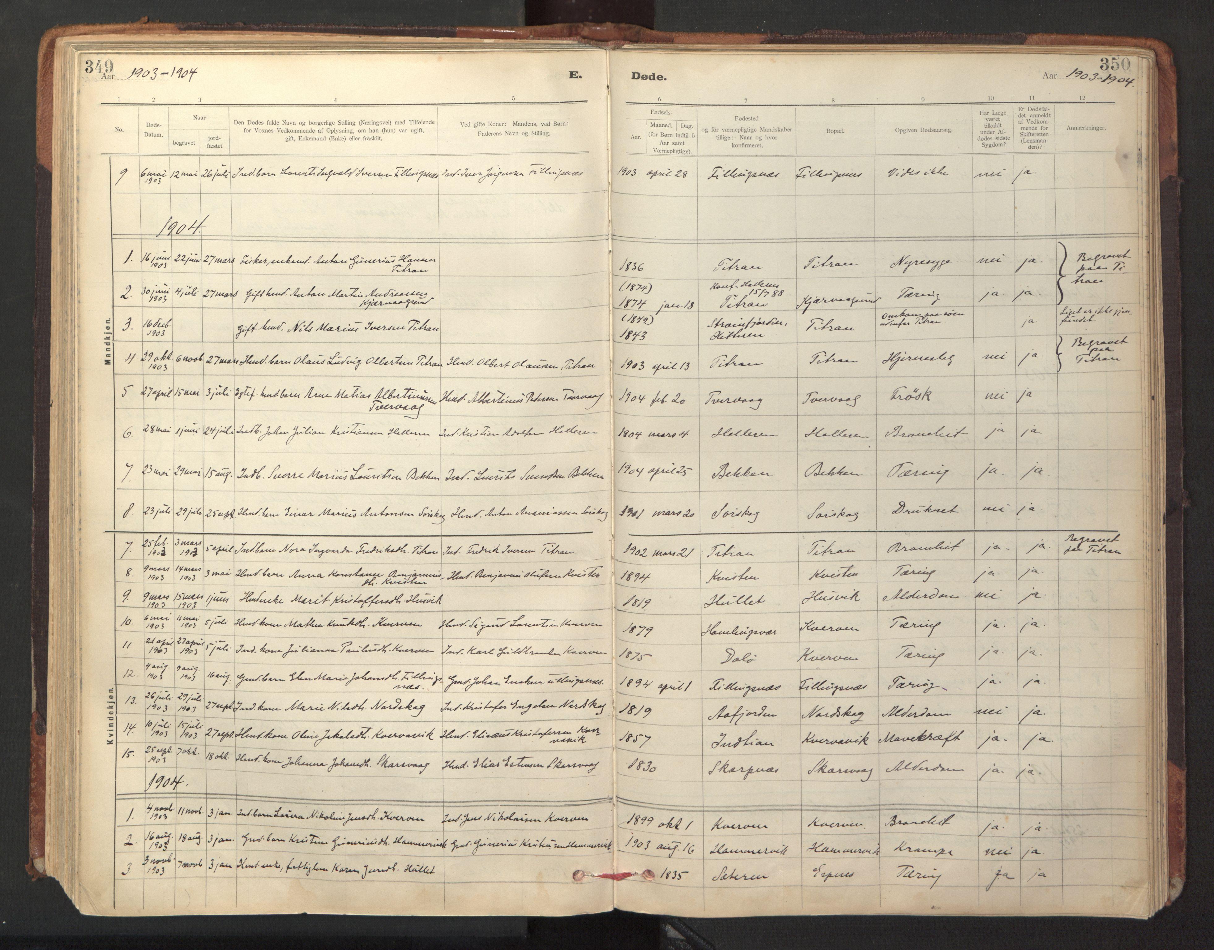 SAT, Ministerialprotokoller, klokkerbøker og fødselsregistre - Sør-Trøndelag, 641/L0596: Ministerialbok nr. 641A02, 1898-1915, s. 349-350