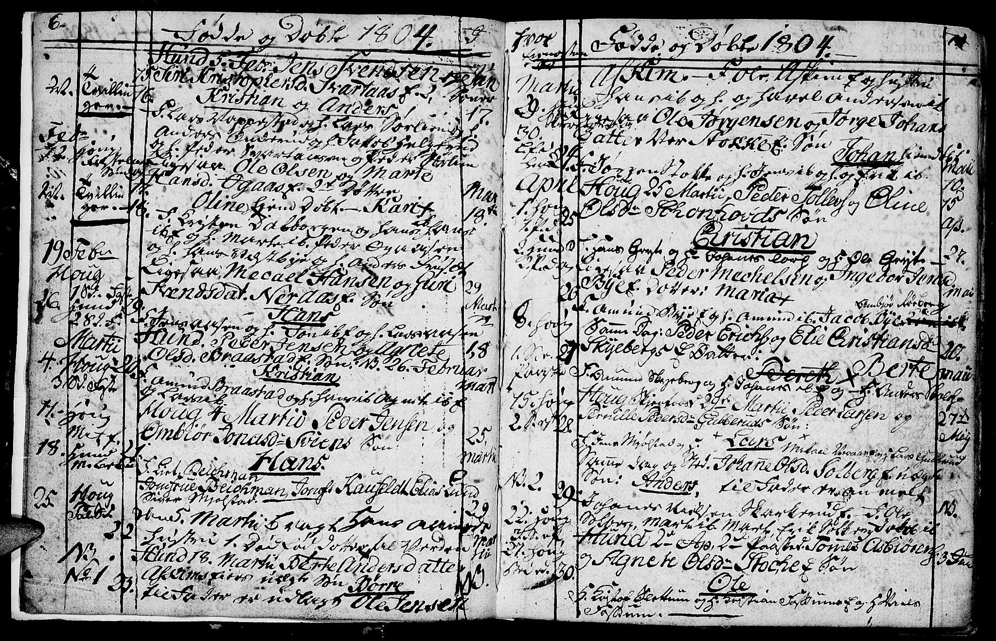 SAH, Vardal prestekontor, H/Ha/Hab/L0003: Klokkerbok nr. 3, 1803-1808, s. 6-7
