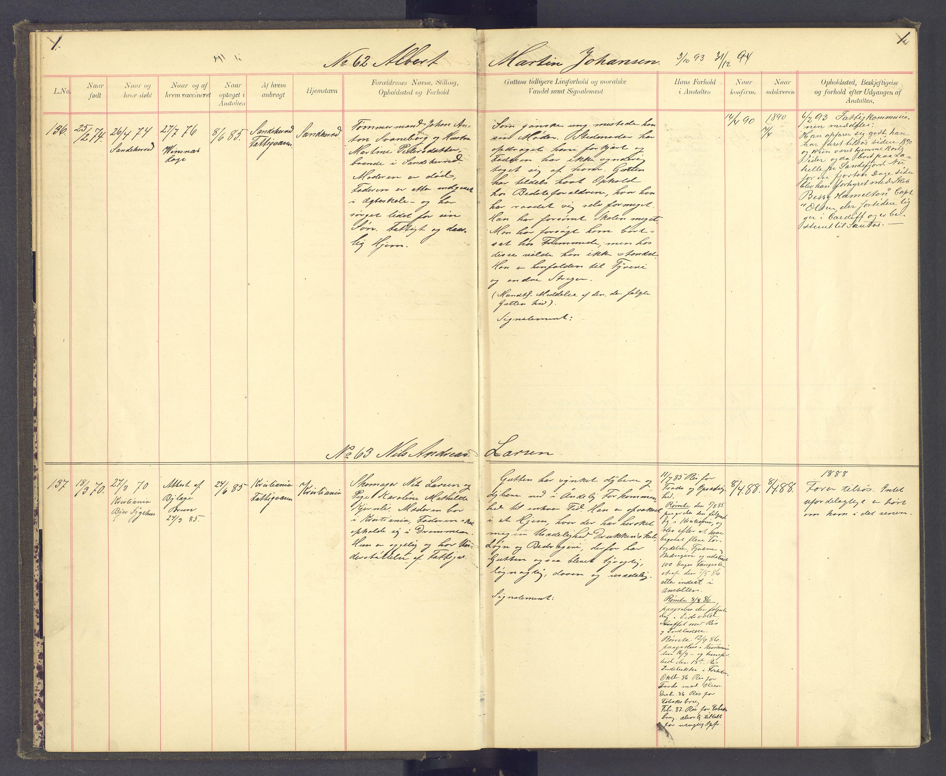 SAH, Toftes Gave, F/Fc/L0004: Elevprotokoll, 1885-1897, s. 1