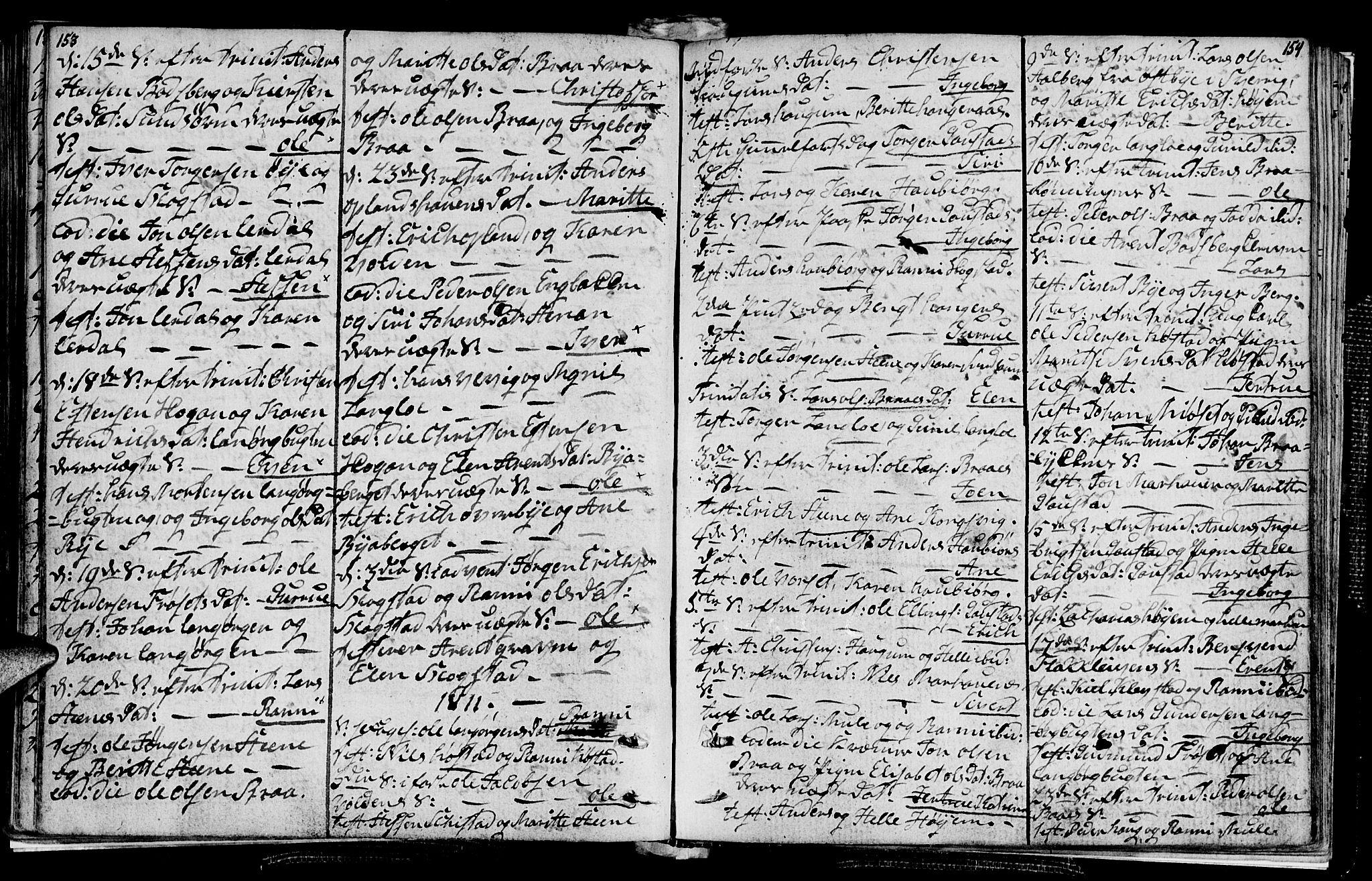 SAT, Ministerialprotokoller, klokkerbøker og fødselsregistre - Sør-Trøndelag, 612/L0371: Ministerialbok nr. 612A05, 1803-1816, s. 153-154