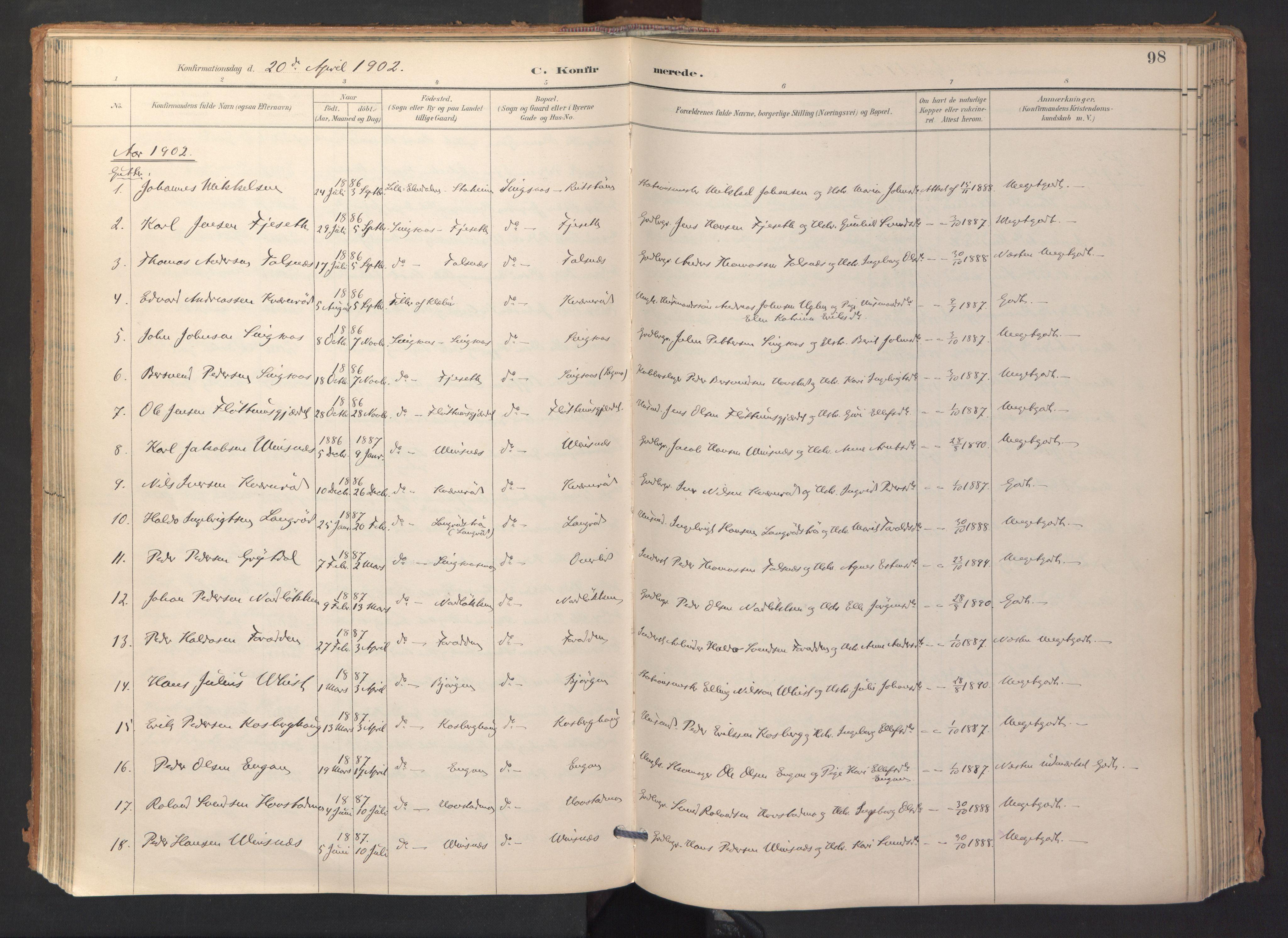 SAT, Ministerialprotokoller, klokkerbøker og fødselsregistre - Sør-Trøndelag, 688/L1025: Ministerialbok nr. 688A02, 1891-1909, s. 98