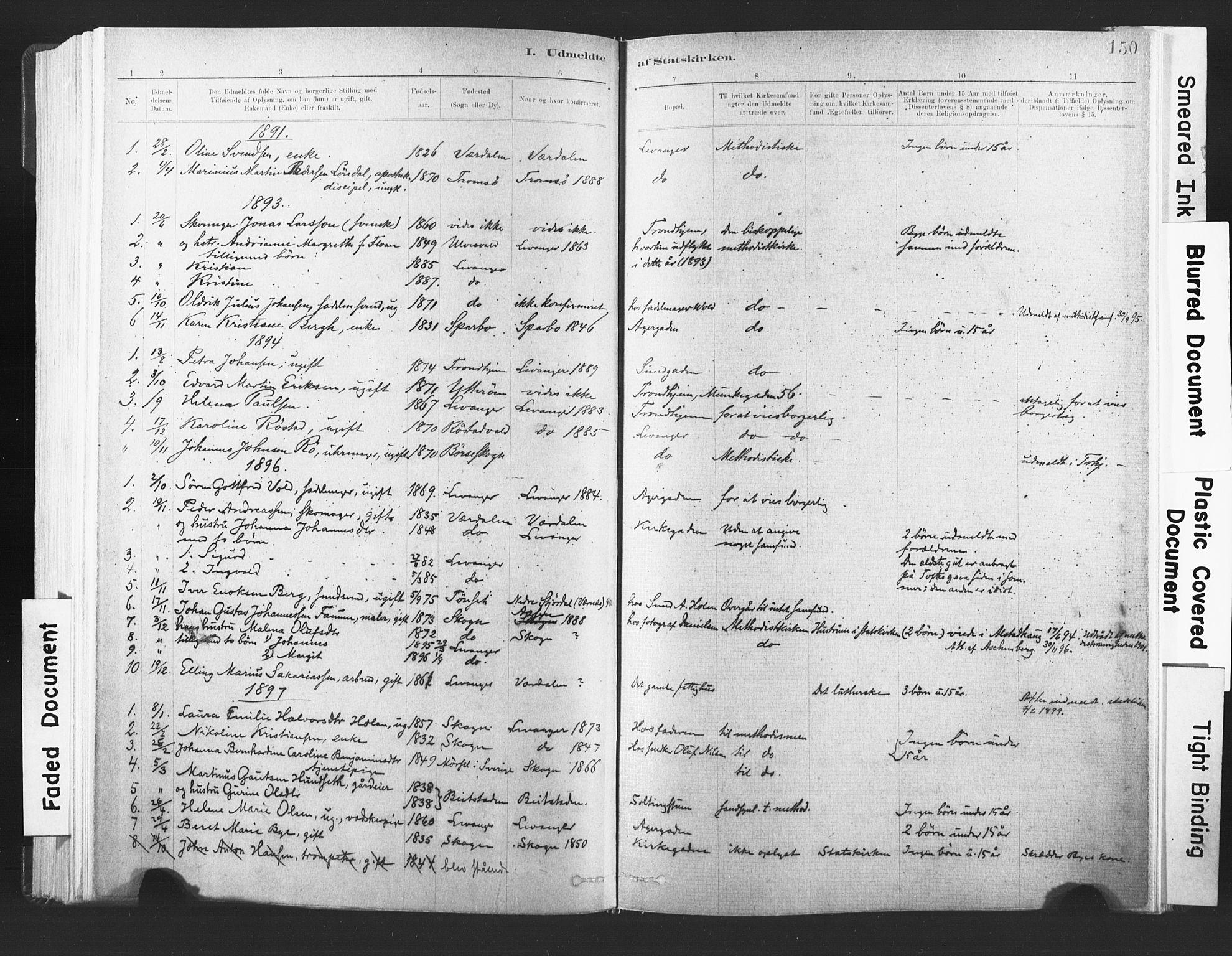 SAT, Ministerialprotokoller, klokkerbøker og fødselsregistre - Nord-Trøndelag, 720/L0189: Ministerialbok nr. 720A05, 1880-1911, s. 150