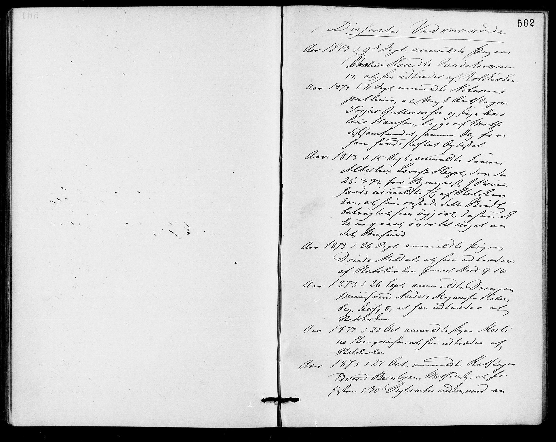 SAO, Gamle Aker prestekontor Kirkebøker, F/L0005: Ministerialbok nr. 5, 1873-1881, s. 562
