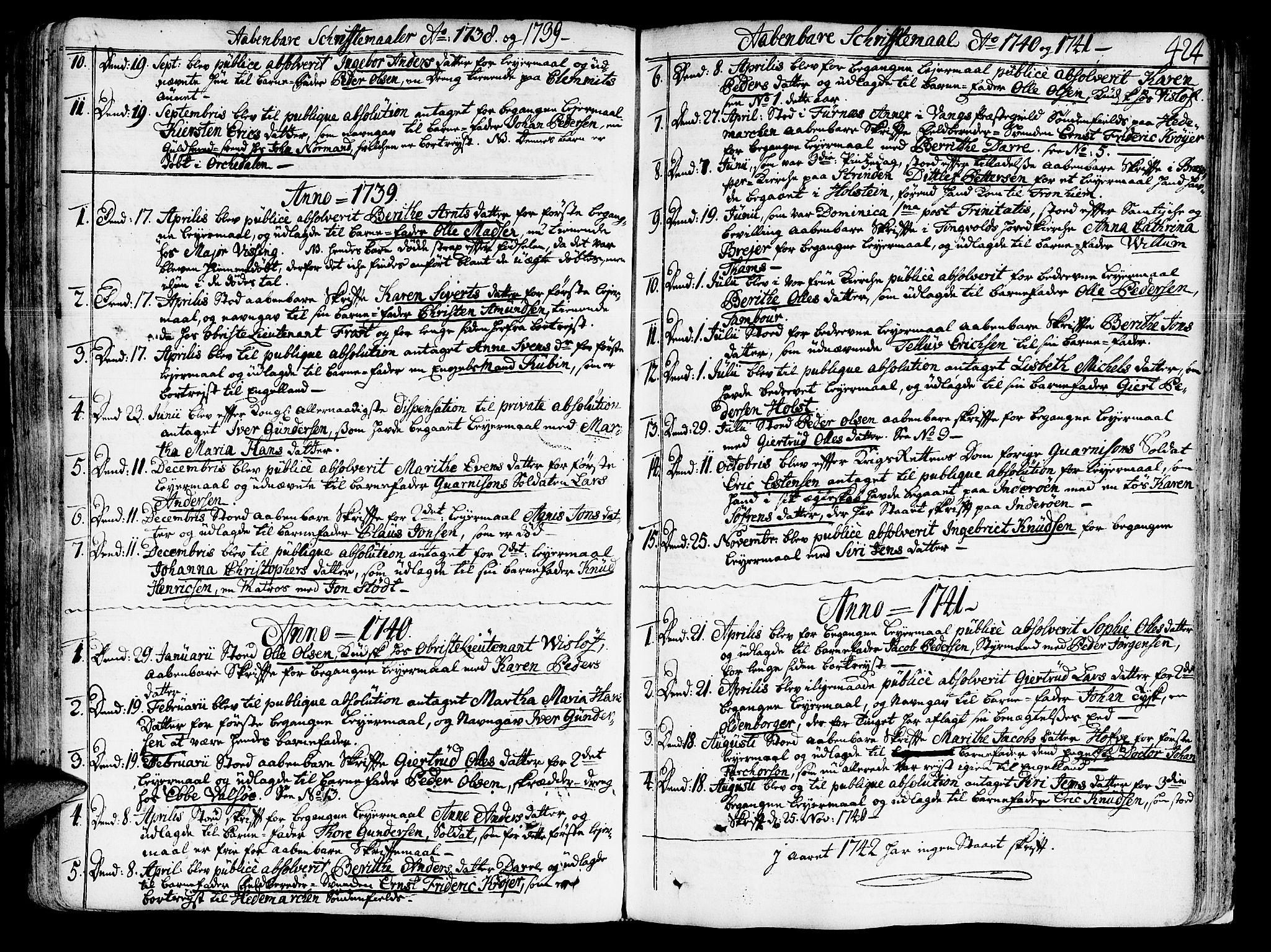 SAT, Ministerialprotokoller, klokkerbøker og fødselsregistre - Sør-Trøndelag, 602/L0103: Ministerialbok nr. 602A01, 1732-1774, s. 424