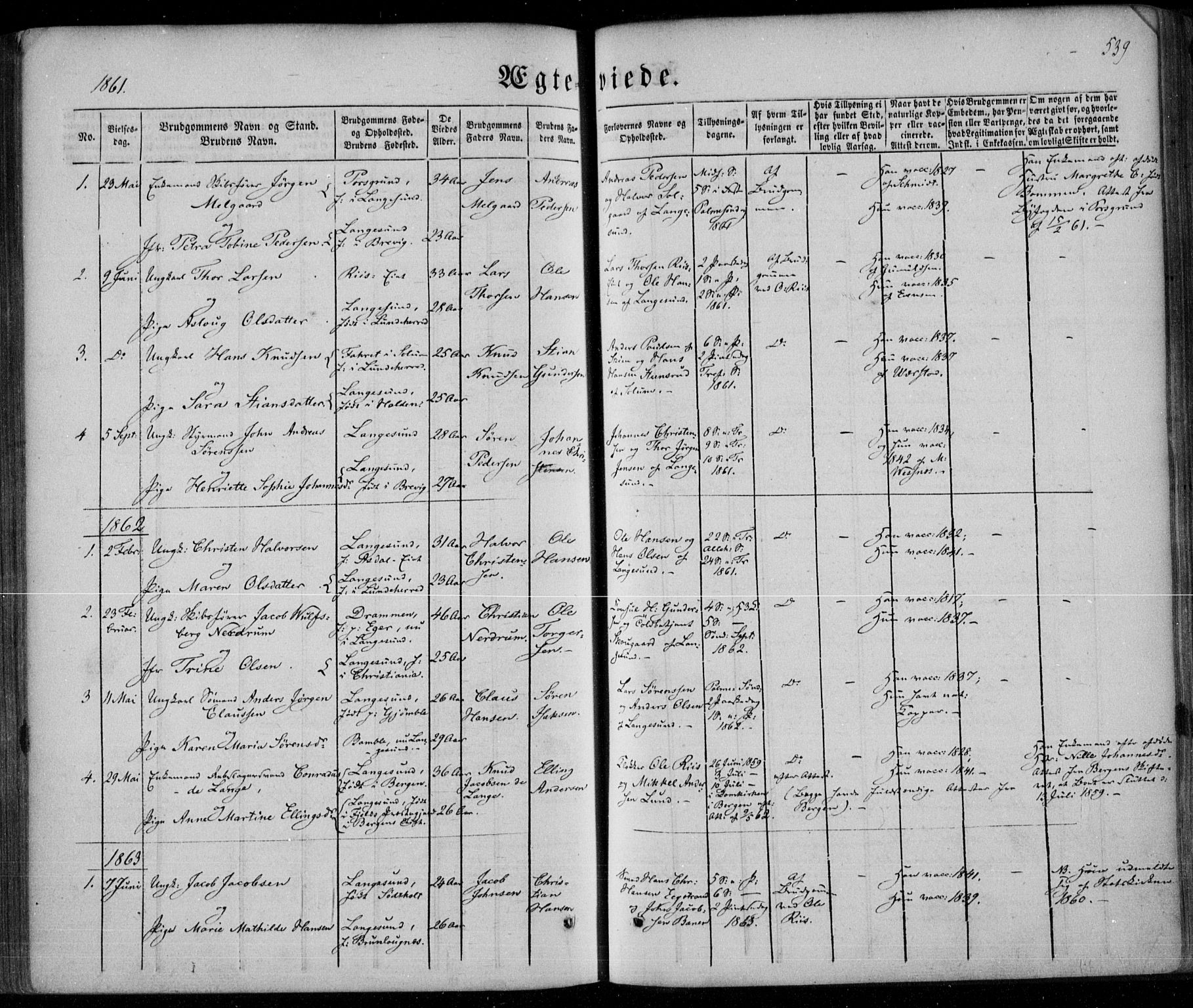 SAKO, Bamble kirkebøker, F/Fa/L0005: Ministerialbok nr. I 5, 1854-1869, s. 539