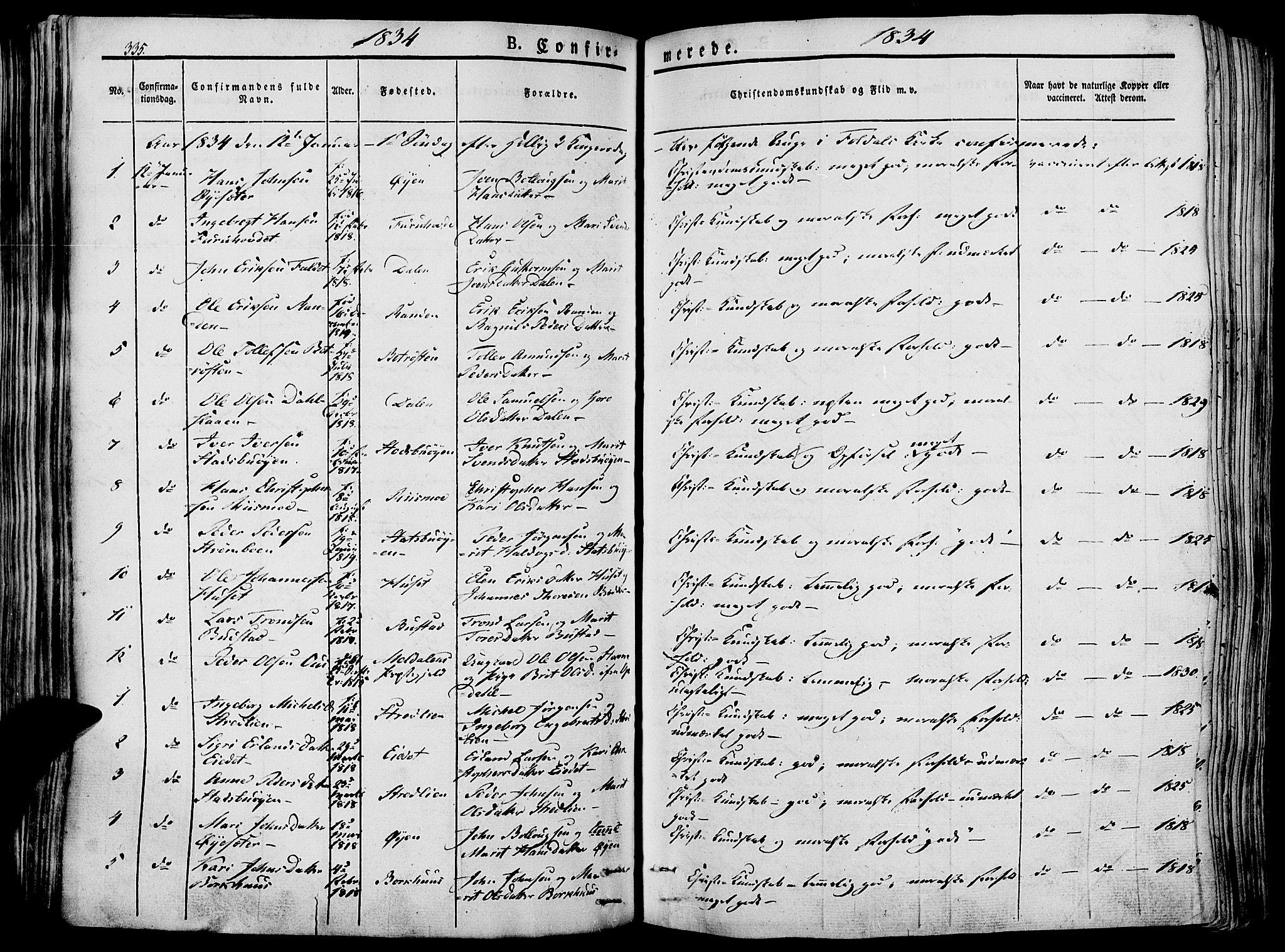 SAH, Lesja prestekontor, Ministerialbok nr. 5, 1830-1842, s. 335