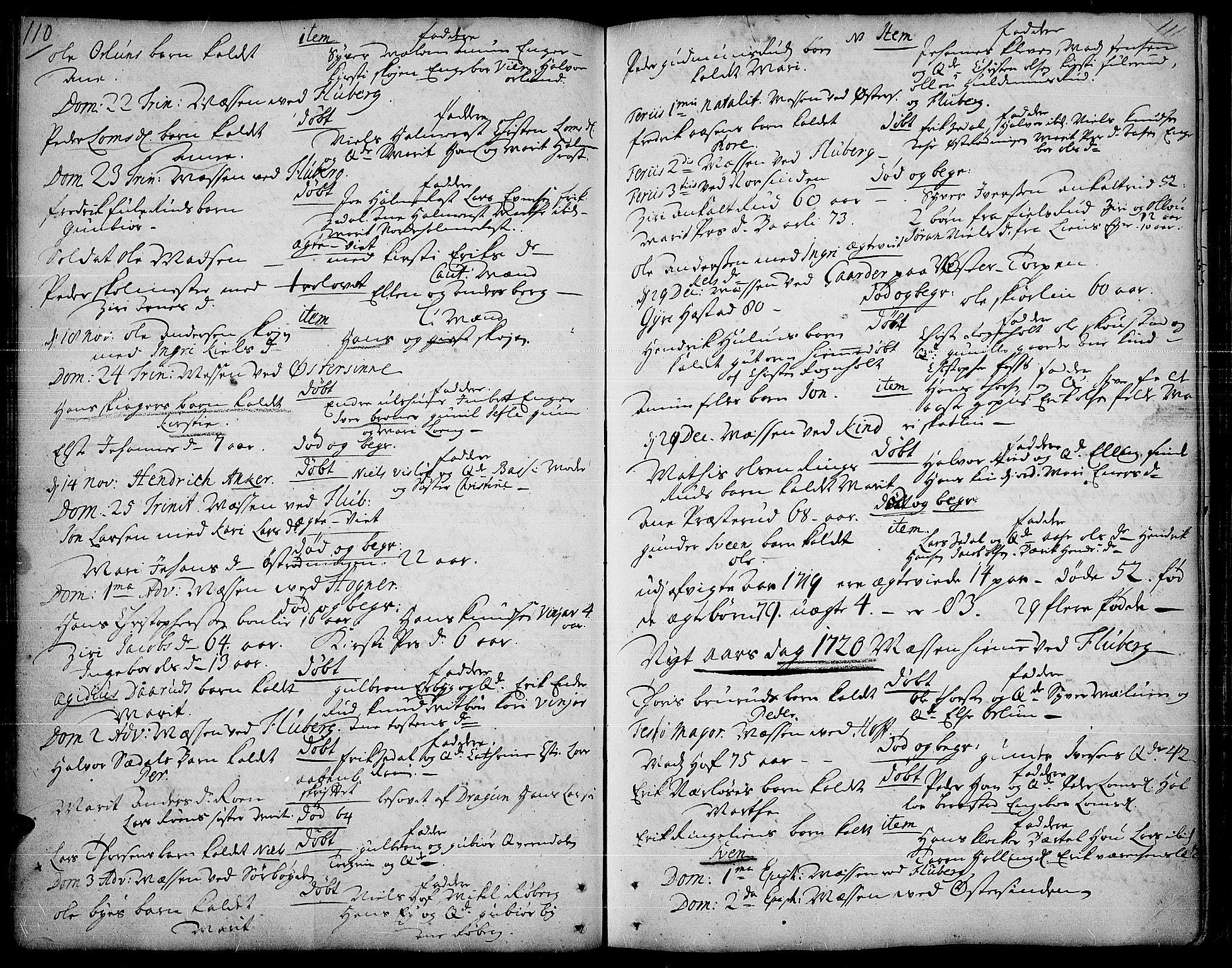 SAH, Land prestekontor, Ministerialbok nr. 1, 1708-1732, s. 110-111