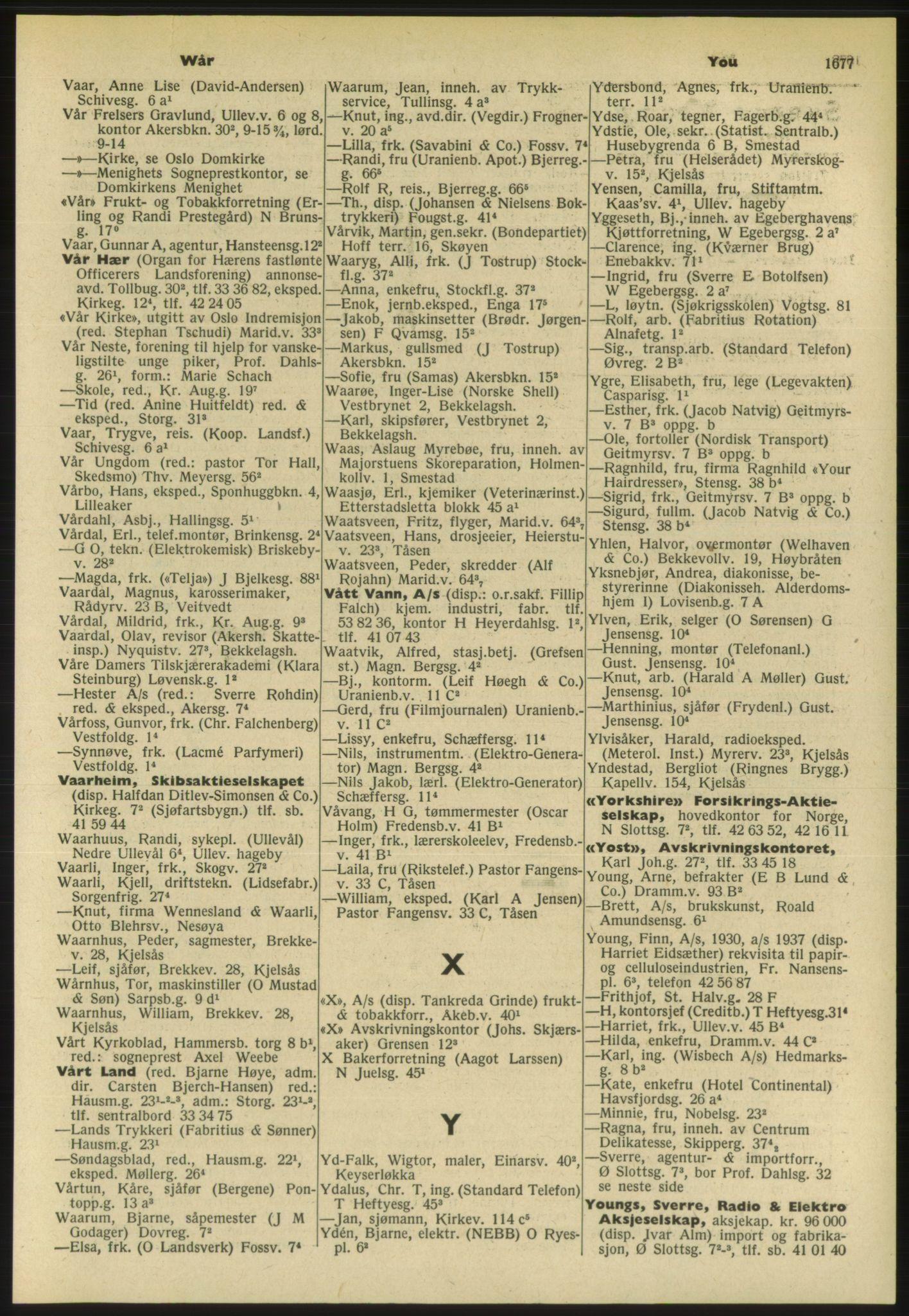 PUBL, Kristiania/Oslo adressebok, 1954, s. 1677