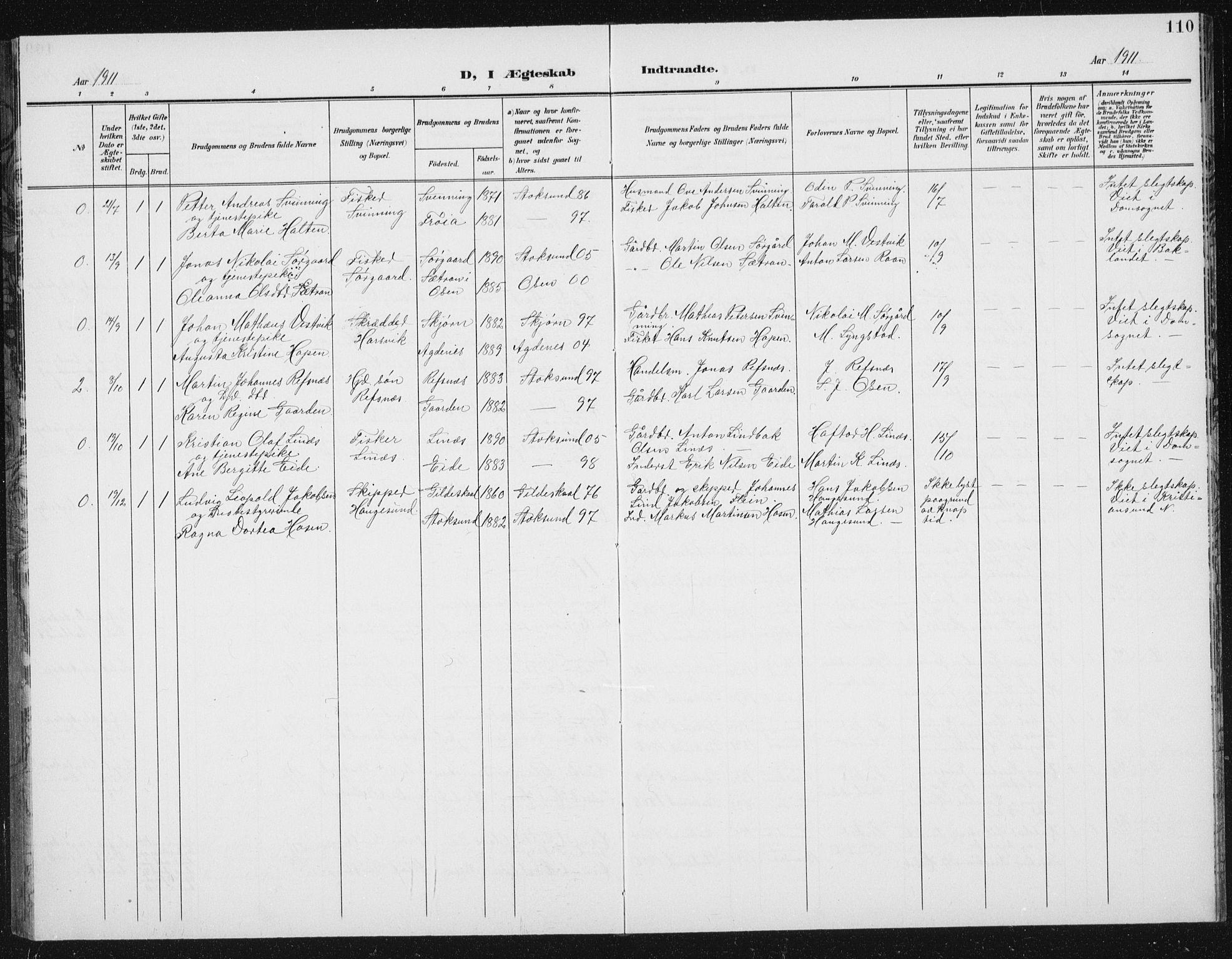 SAT, Ministerialprotokoller, klokkerbøker og fødselsregistre - Sør-Trøndelag, 656/L0699: Klokkerbok nr. 656C05, 1905-1920, s. 110