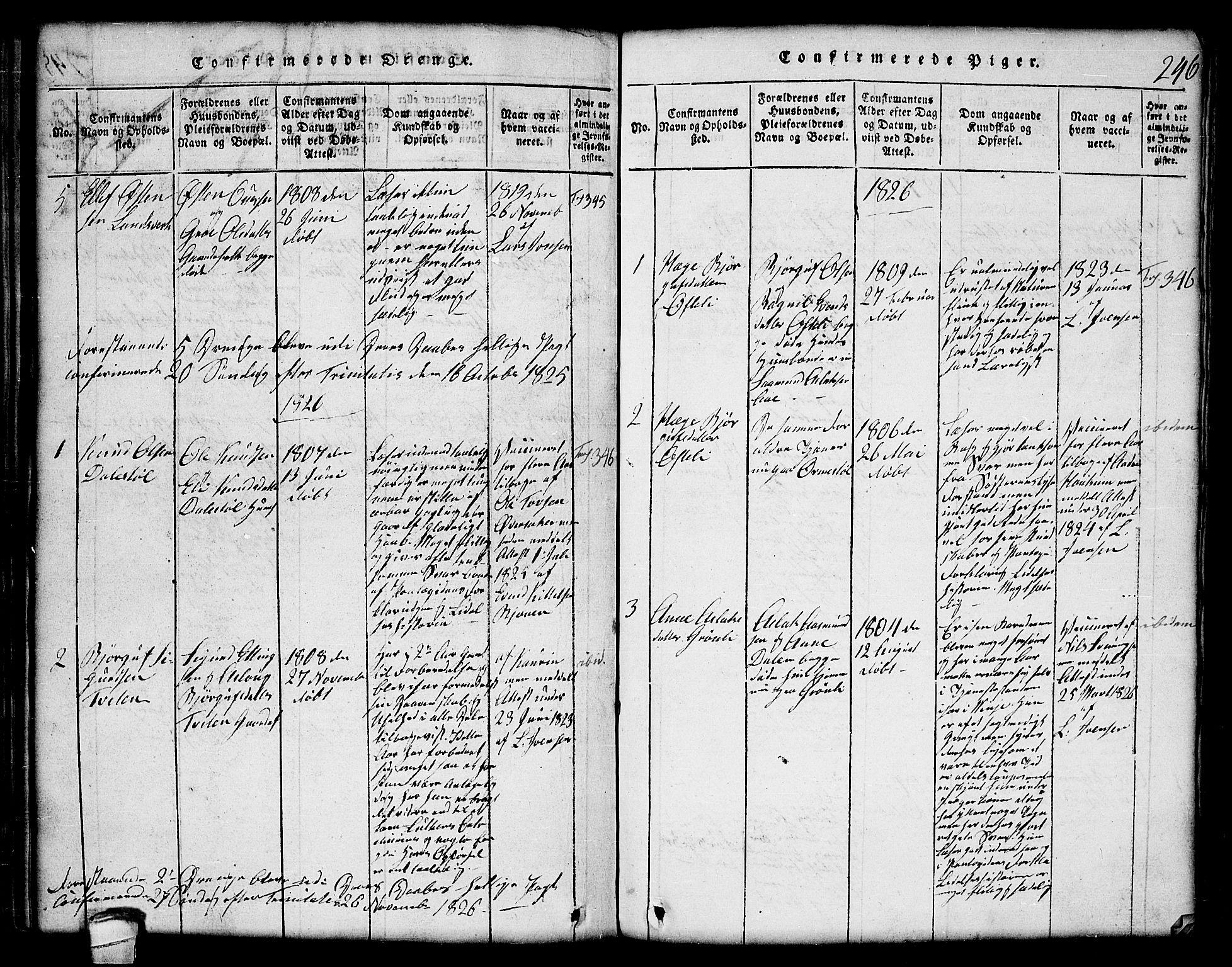 SAKO, Lårdal kirkebøker, G/Gc/L0001: Klokkerbok nr. III 1, 1815-1854, s. 246