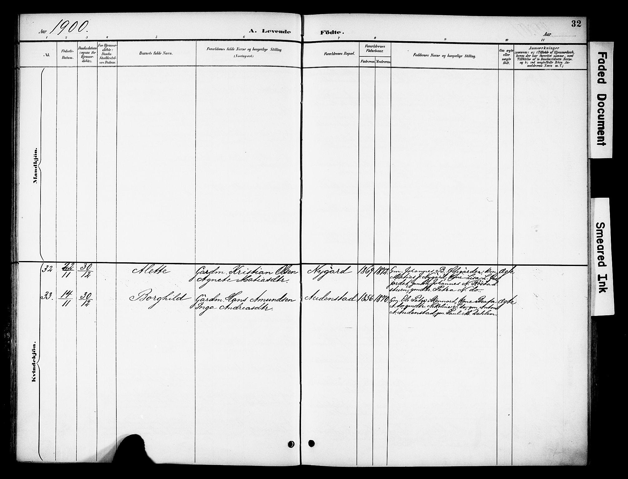 SAH, Biri prestekontor, Ministerialbok nr. 8, 1894-1901, s. 32