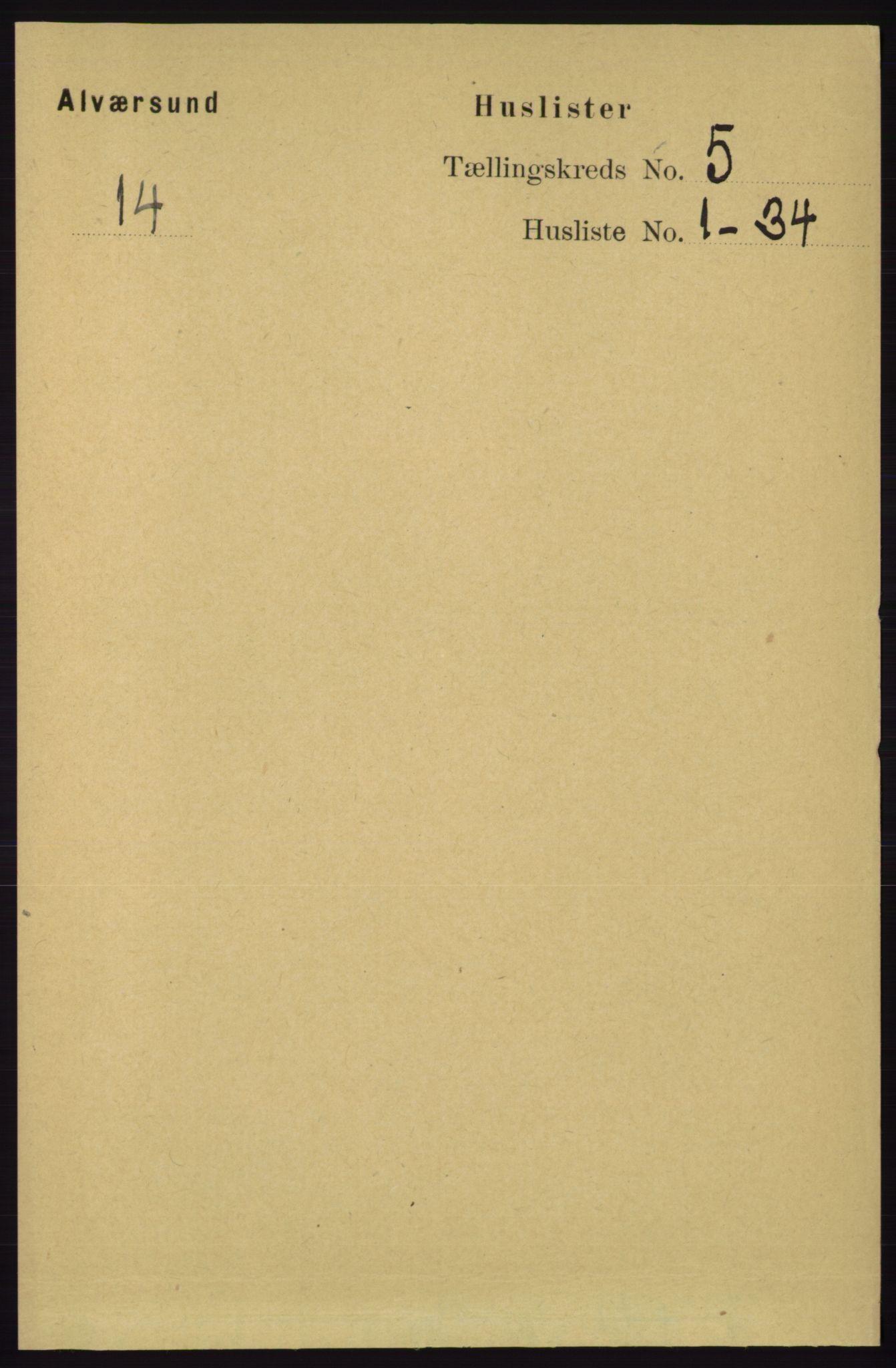 RA, Folketelling 1891 for 1257 Alversund herred, 1891, s. 1756