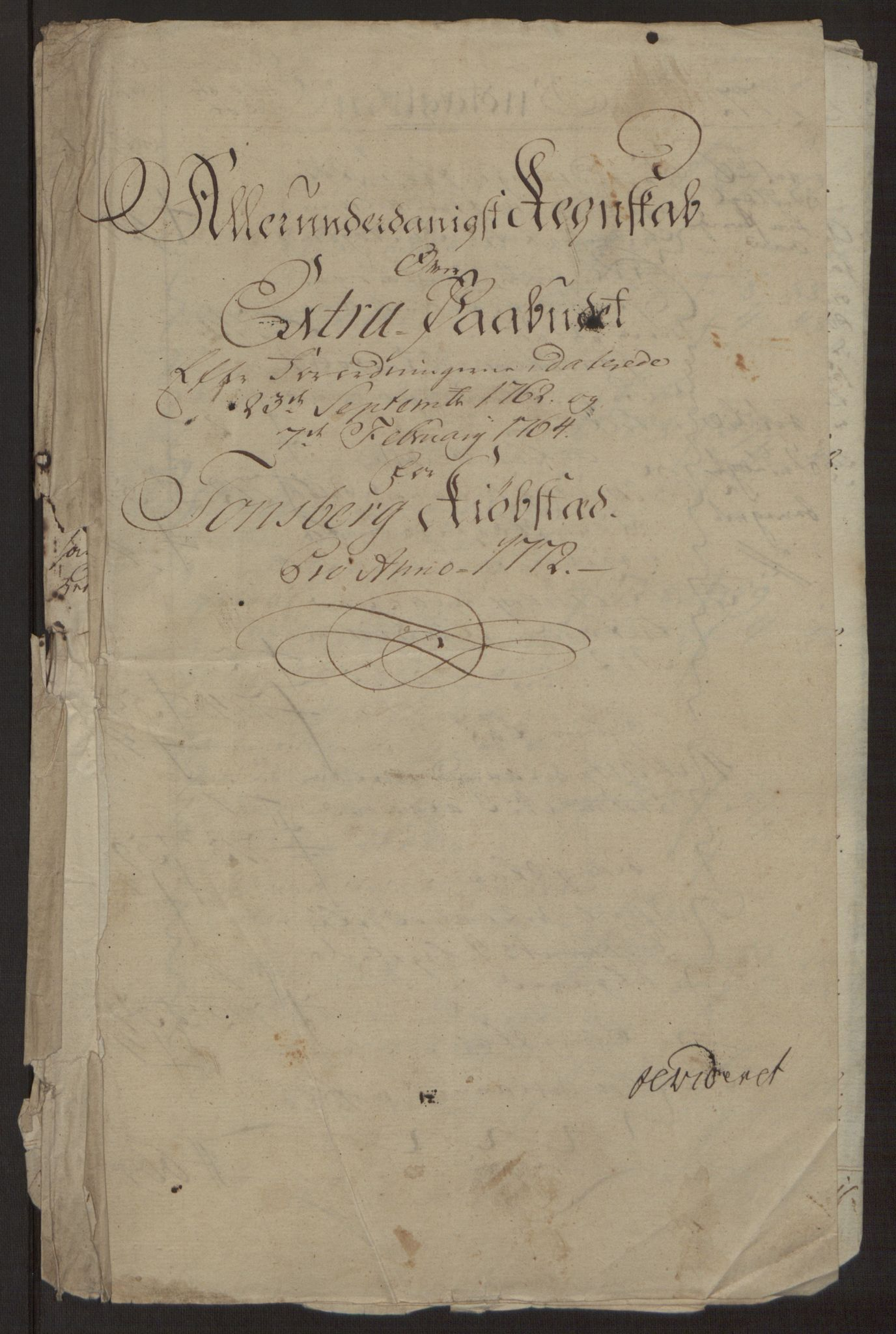 RA, Rentekammeret inntil 1814, Reviderte regnskaper, Byregnskaper, R/Rh/L0162: [H4] Kontribusjonsregnskap, 1762-1772, s. 402