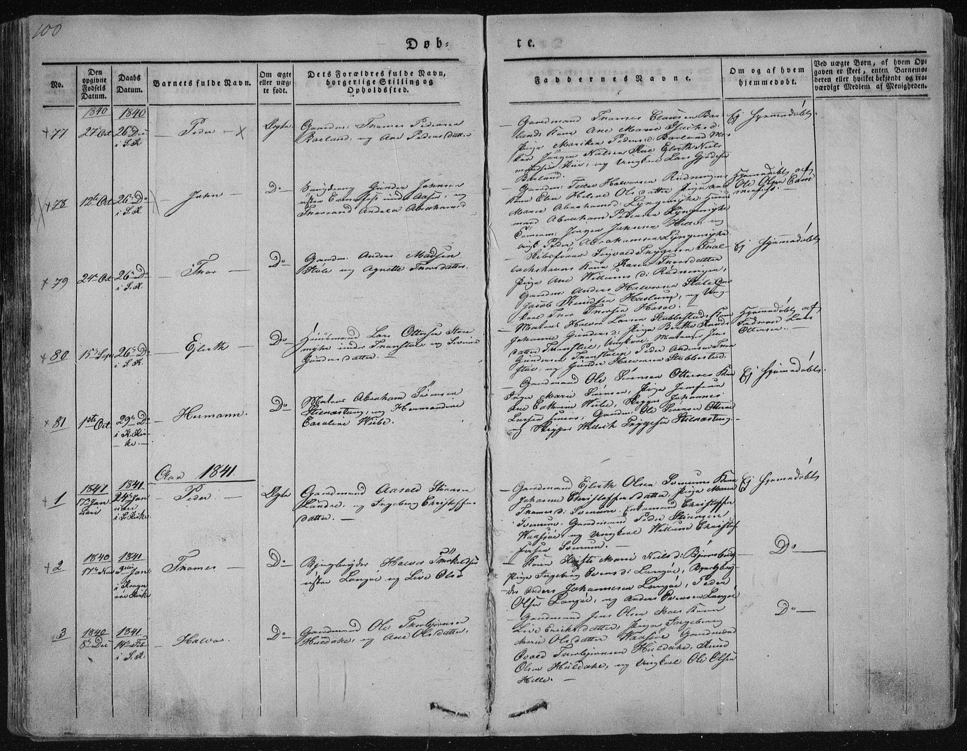 SAKO, Sannidal kirkebøker, F/Fa/L0006: Ministerialbok nr. 6, 1831-1847, s. 100