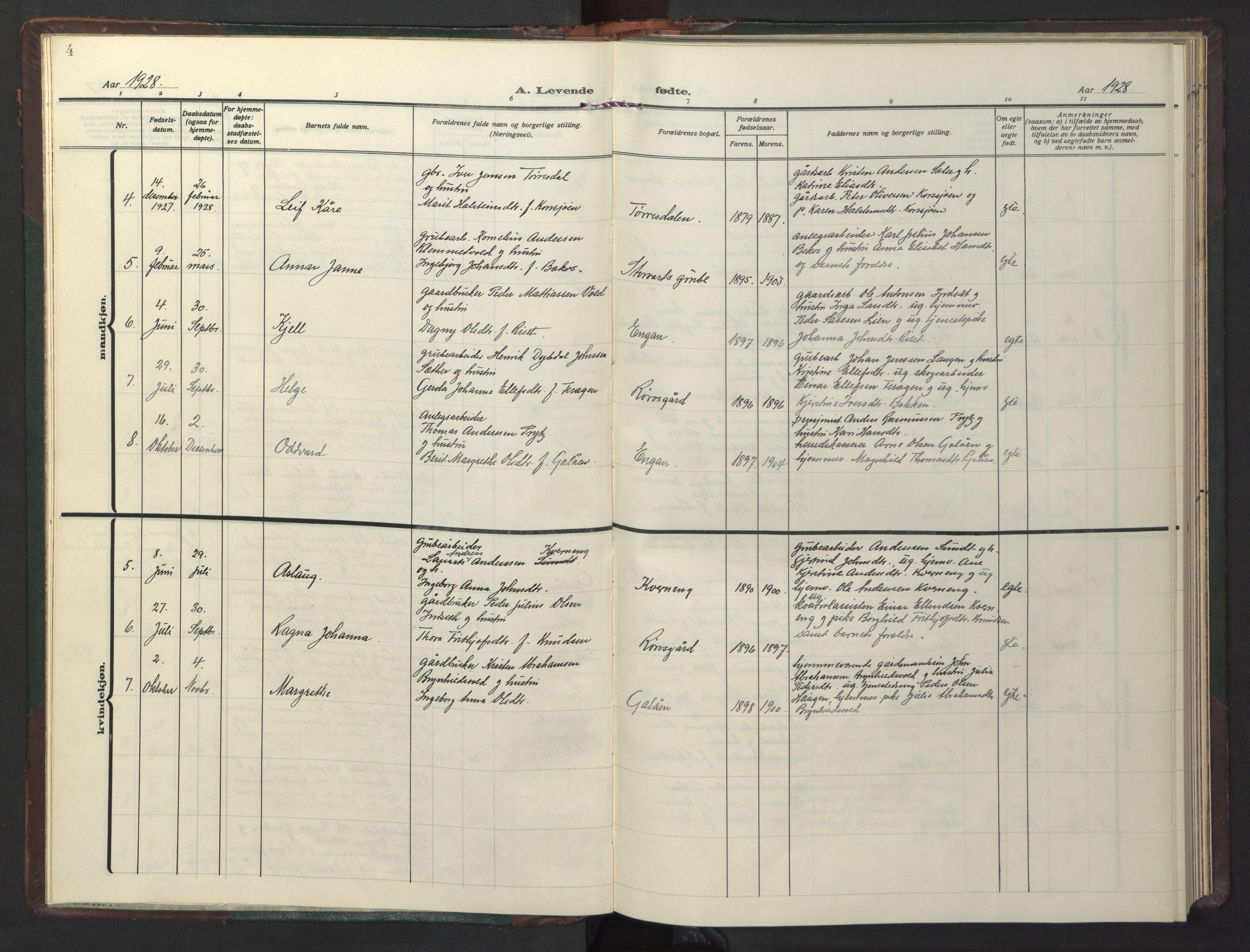 SAT, Ministerialprotokoller, klokkerbøker og fødselsregistre - Sør-Trøndelag, 681/L0944: Klokkerbok nr. 681C08, 1926-1954, s. 4