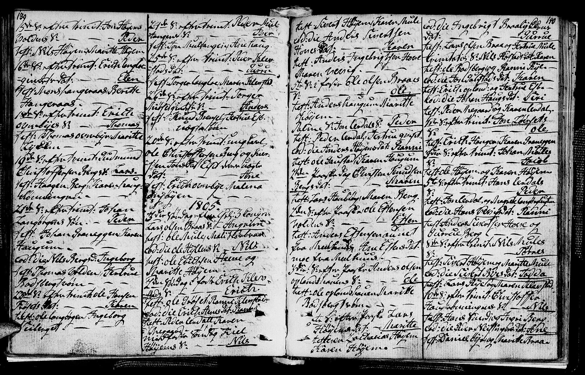 SAT, Ministerialprotokoller, klokkerbøker og fødselsregistre - Sør-Trøndelag, 612/L0371: Ministerialbok nr. 612A05, 1803-1816, s. 139-140