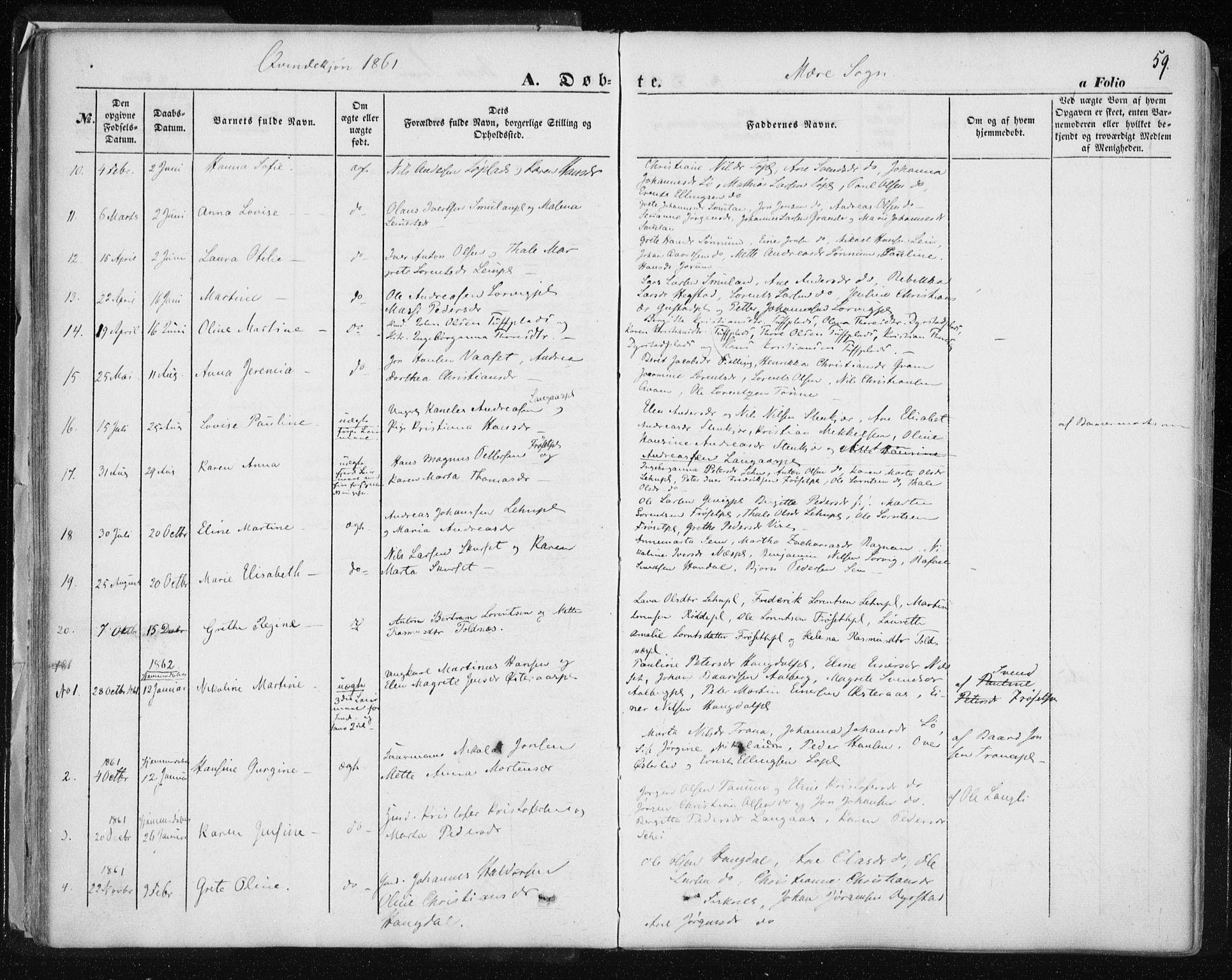 SAT, Ministerialprotokoller, klokkerbøker og fødselsregistre - Nord-Trøndelag, 735/L0342: Ministerialbok nr. 735A07 /1, 1849-1862, s. 59