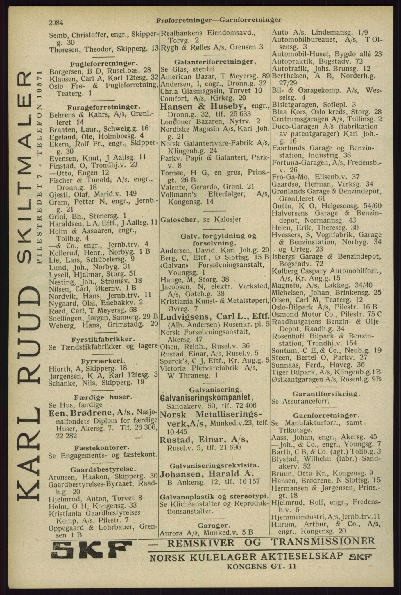 RA, Oslo adressebok (publikasjon)*, 1929, s. 2084