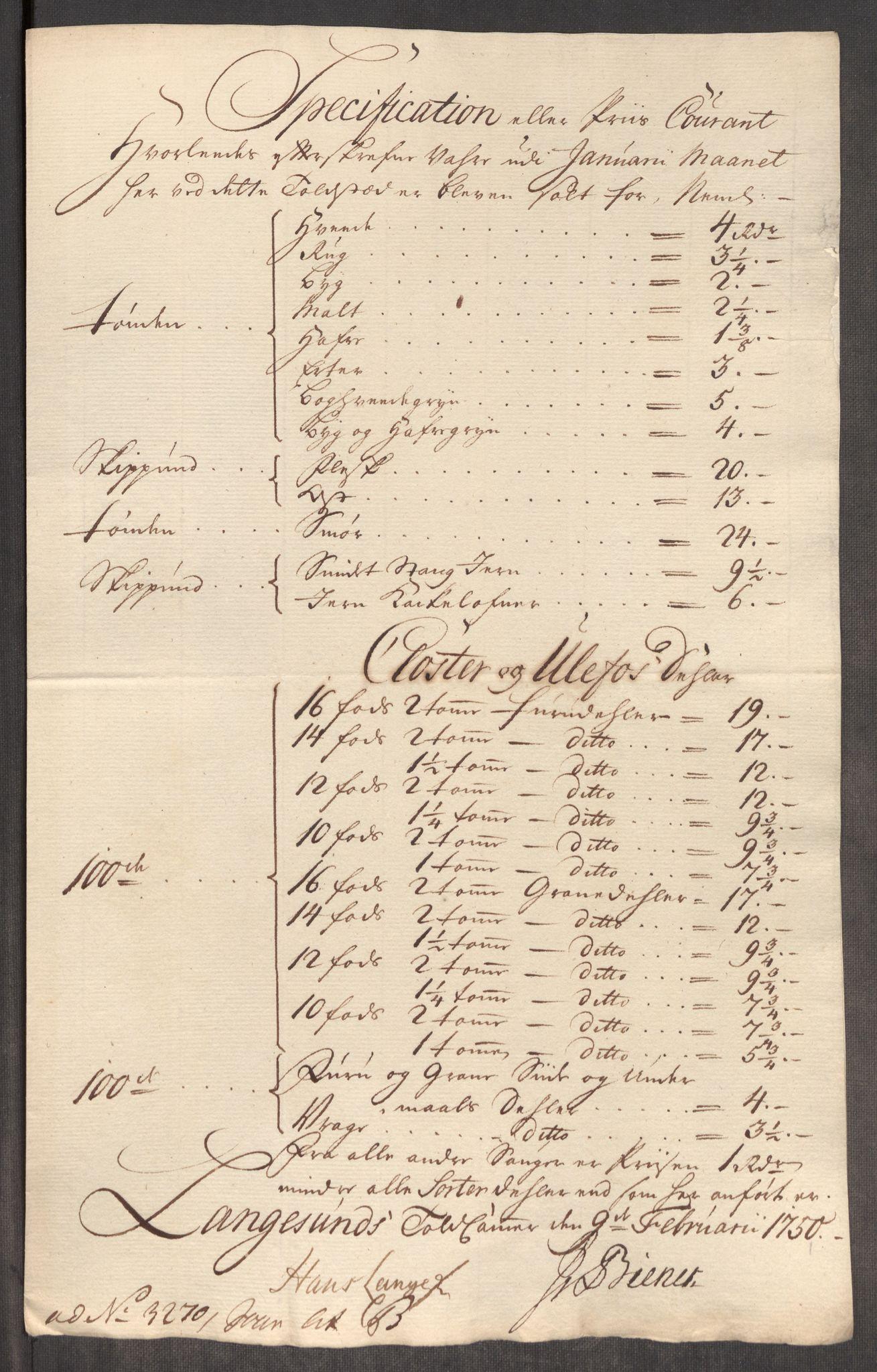 RA, Rentekammeret inntil 1814, Realistisk ordnet avdeling, Oe/L0004: [Ø1]: Priskuranter, 1749-1752, s. 342
