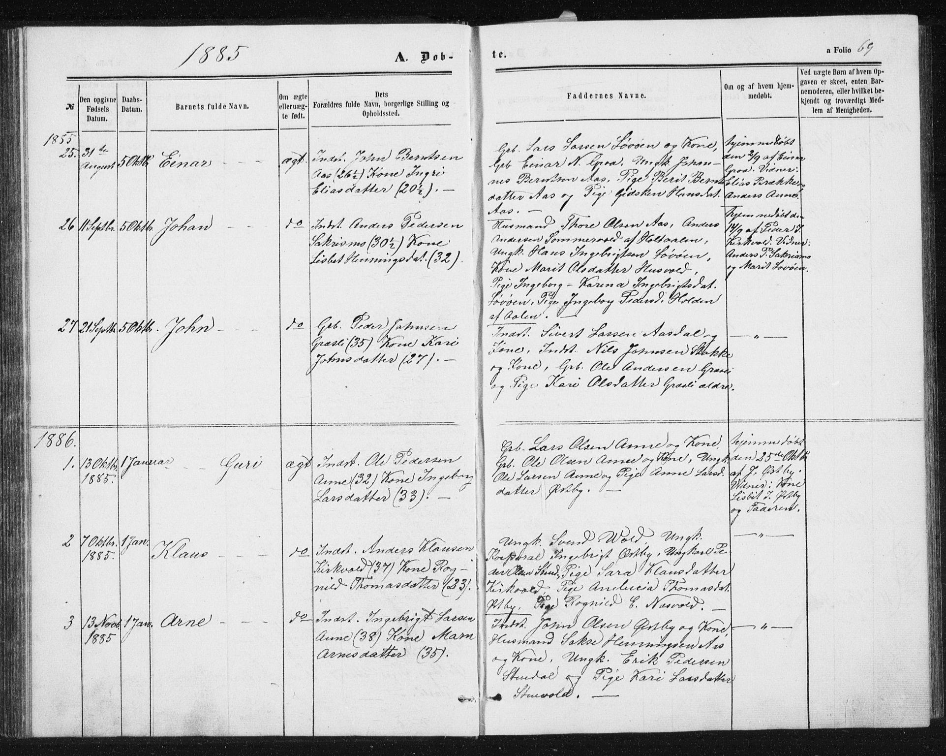 SAT, Ministerialprotokoller, klokkerbøker og fødselsregistre - Sør-Trøndelag, 698/L1166: Klokkerbok nr. 698C03, 1861-1887, s. 69
