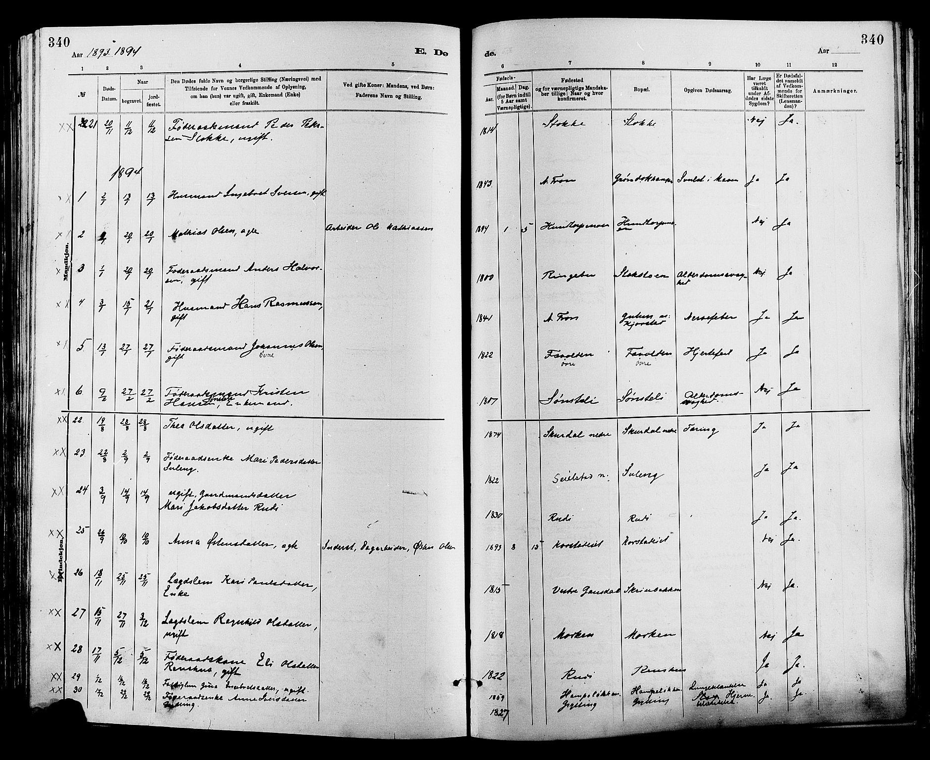 SAH, Sør-Fron prestekontor, H/Ha/Haa/L0003: Ministerialbok nr. 3, 1881-1897, s. 340
