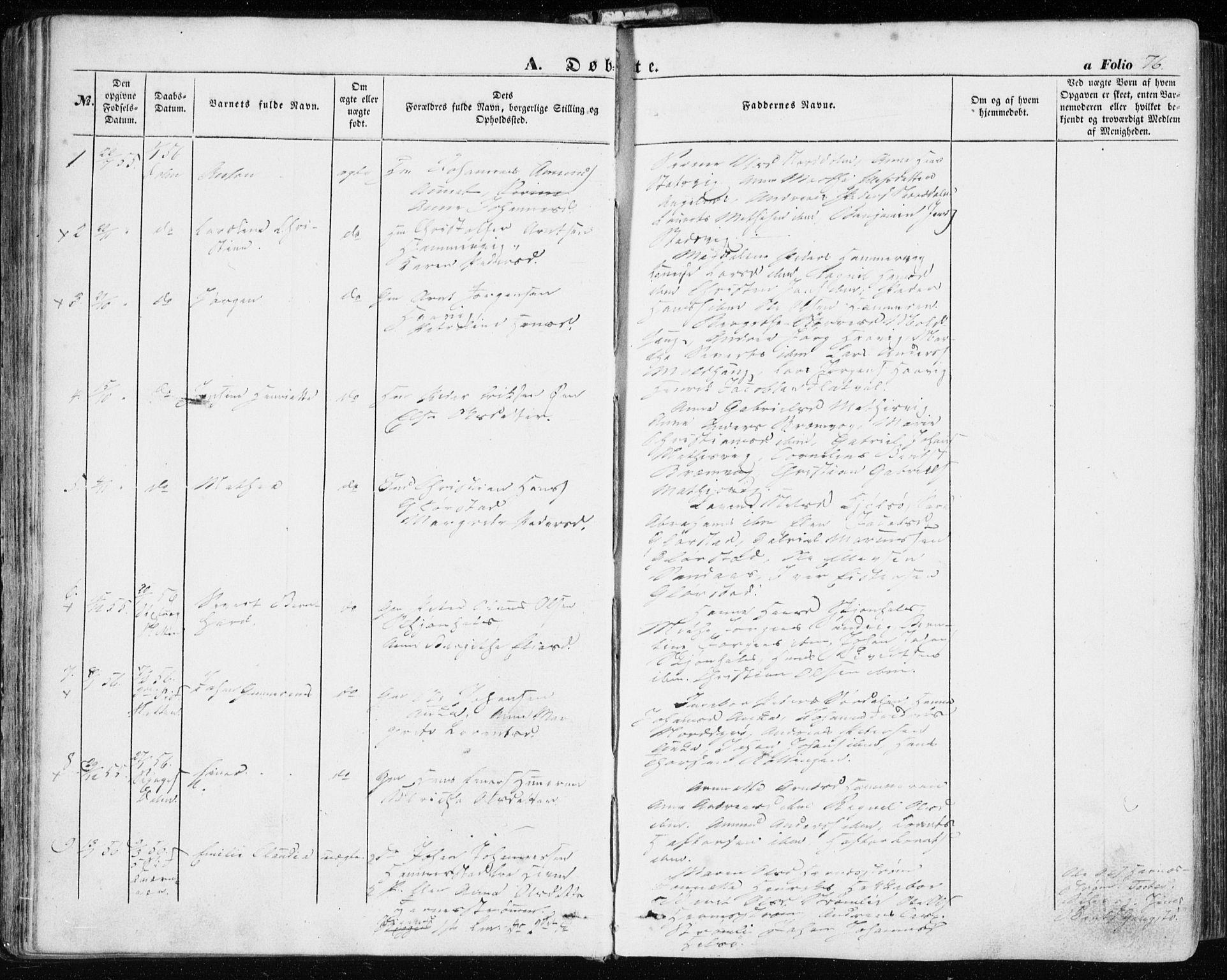 SAT, Ministerialprotokoller, klokkerbøker og fødselsregistre - Sør-Trøndelag, 634/L0530: Ministerialbok nr. 634A06, 1852-1860, s. 76