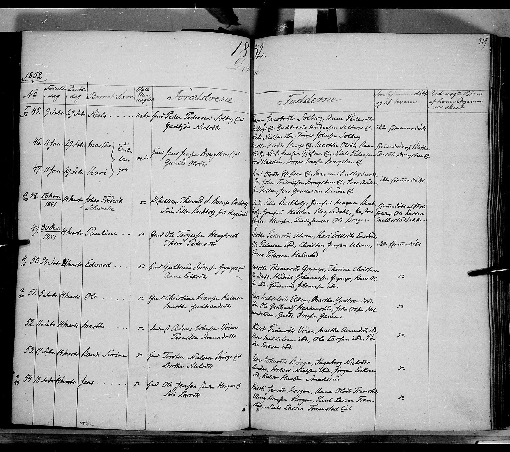 SAH, Gran prestekontor, Ministerialbok nr. 11, 1842-1856, s. 328-329