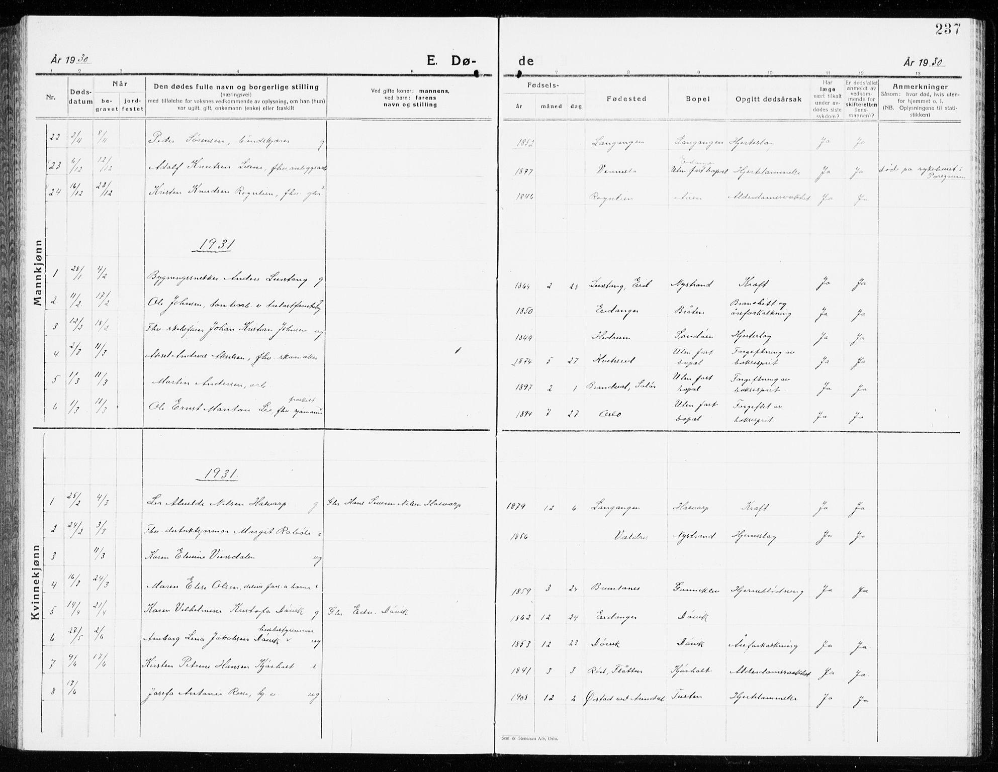 SAKO, Eidanger kirkebøker, G/Ga/L0005: Klokkerbok nr. 5, 1928-1942, s. 237