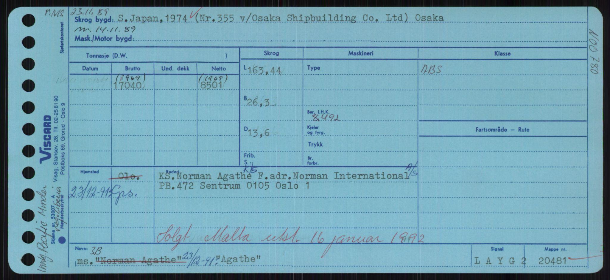 RA, Sjøfartsdirektoratet med forløpere, Skipsmålingen, H/Hd/L0001: Fartøy, A-Anv, s. 111