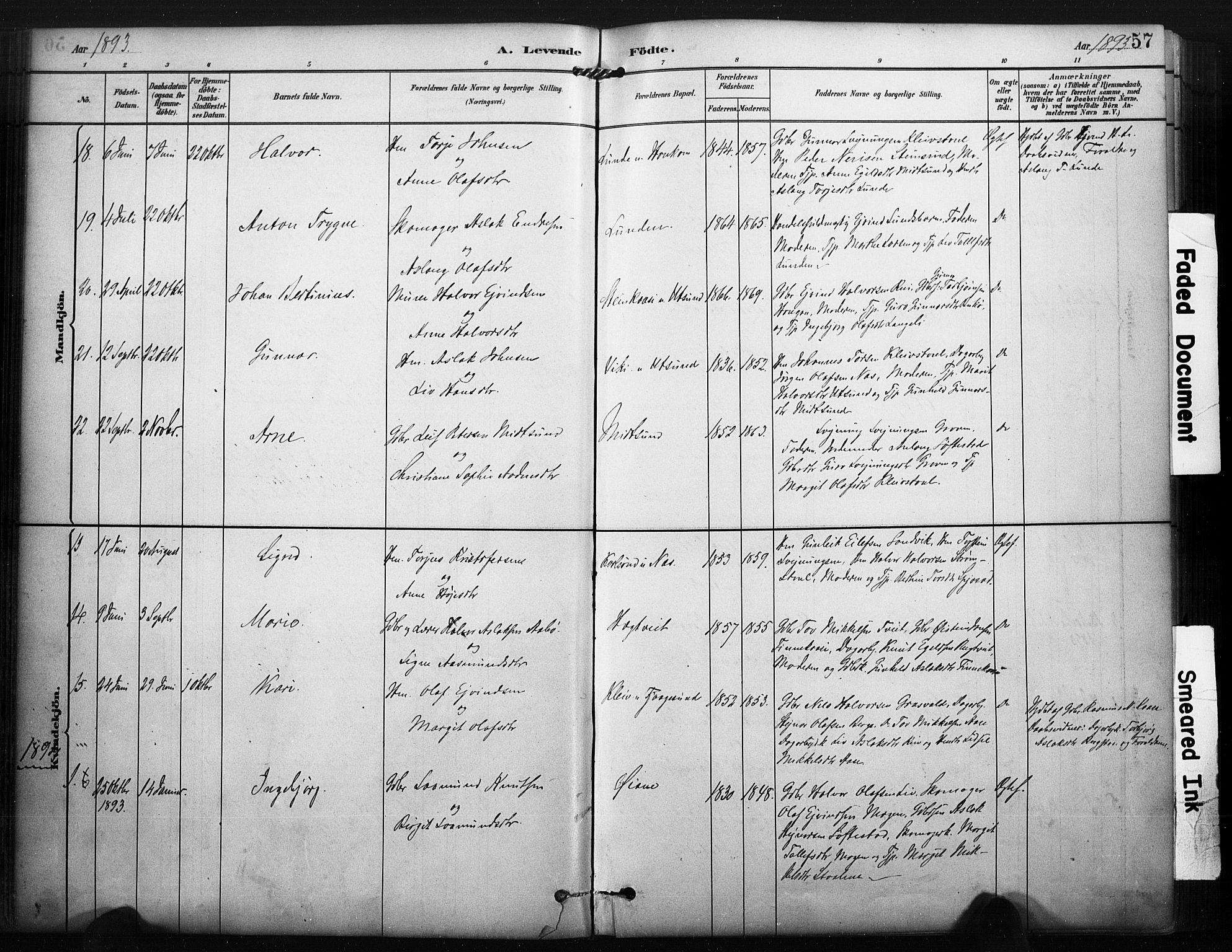 SAKO, Kviteseid kirkebøker, F/Fa/L0008: Ministerialbok nr. I 8, 1882-1903, s. 57