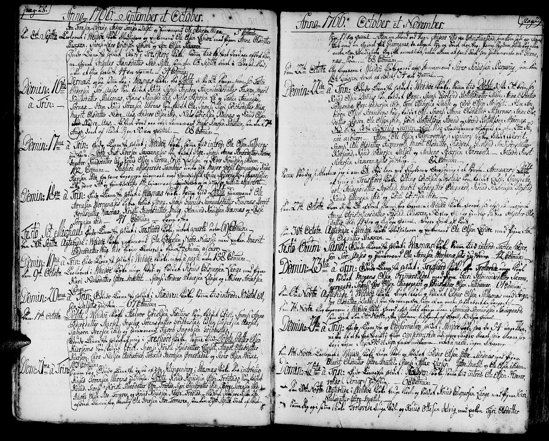 SAT, Ministerialprotokoller, klokkerbøker og fødselsregistre - Møre og Romsdal, 547/L0600: Ministerialbok nr. 547A02, 1765-1799, s. 28-29