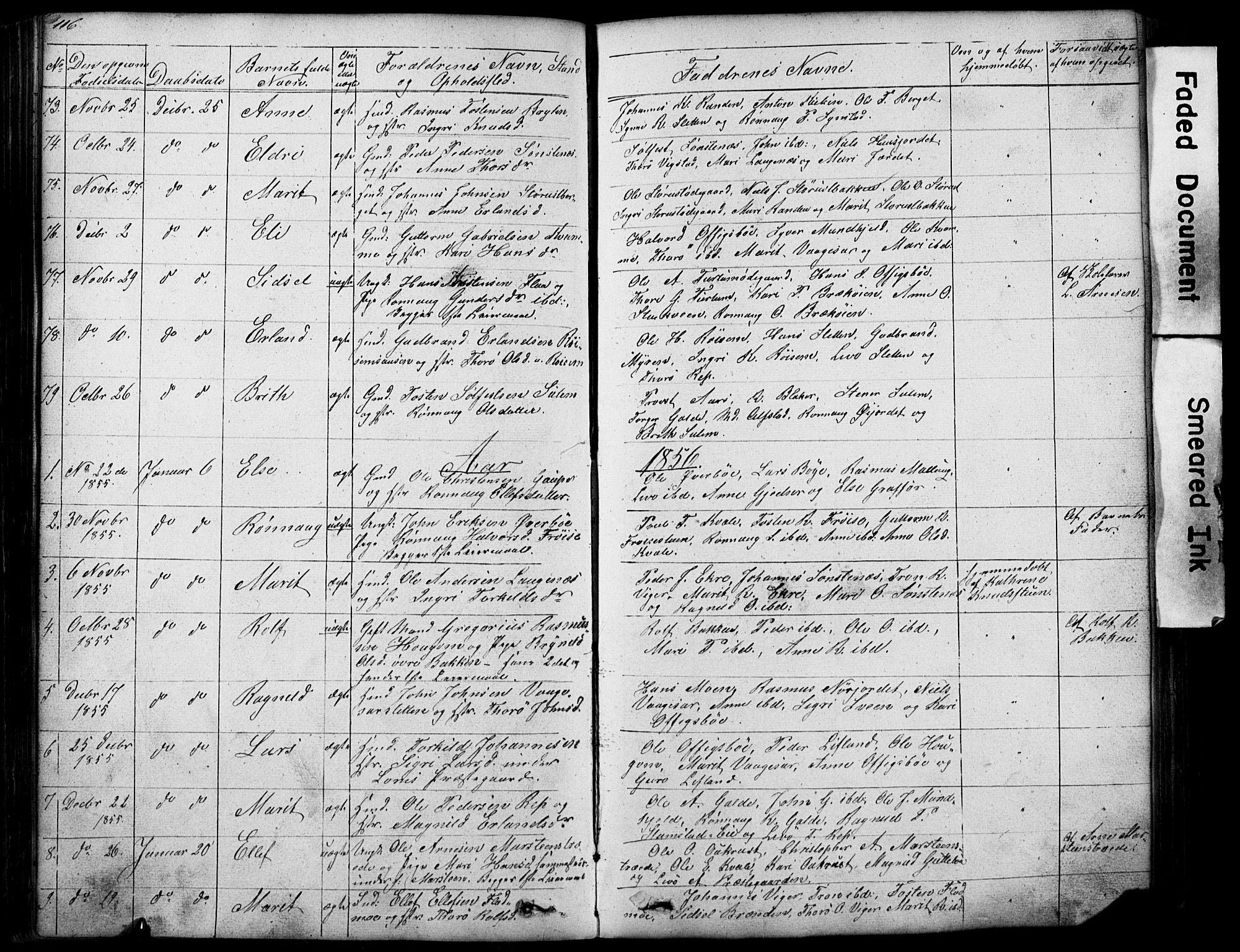 SAH, Lom prestekontor, L/L0012: Klokkerbok nr. 12, 1845-1873, s. 116-117