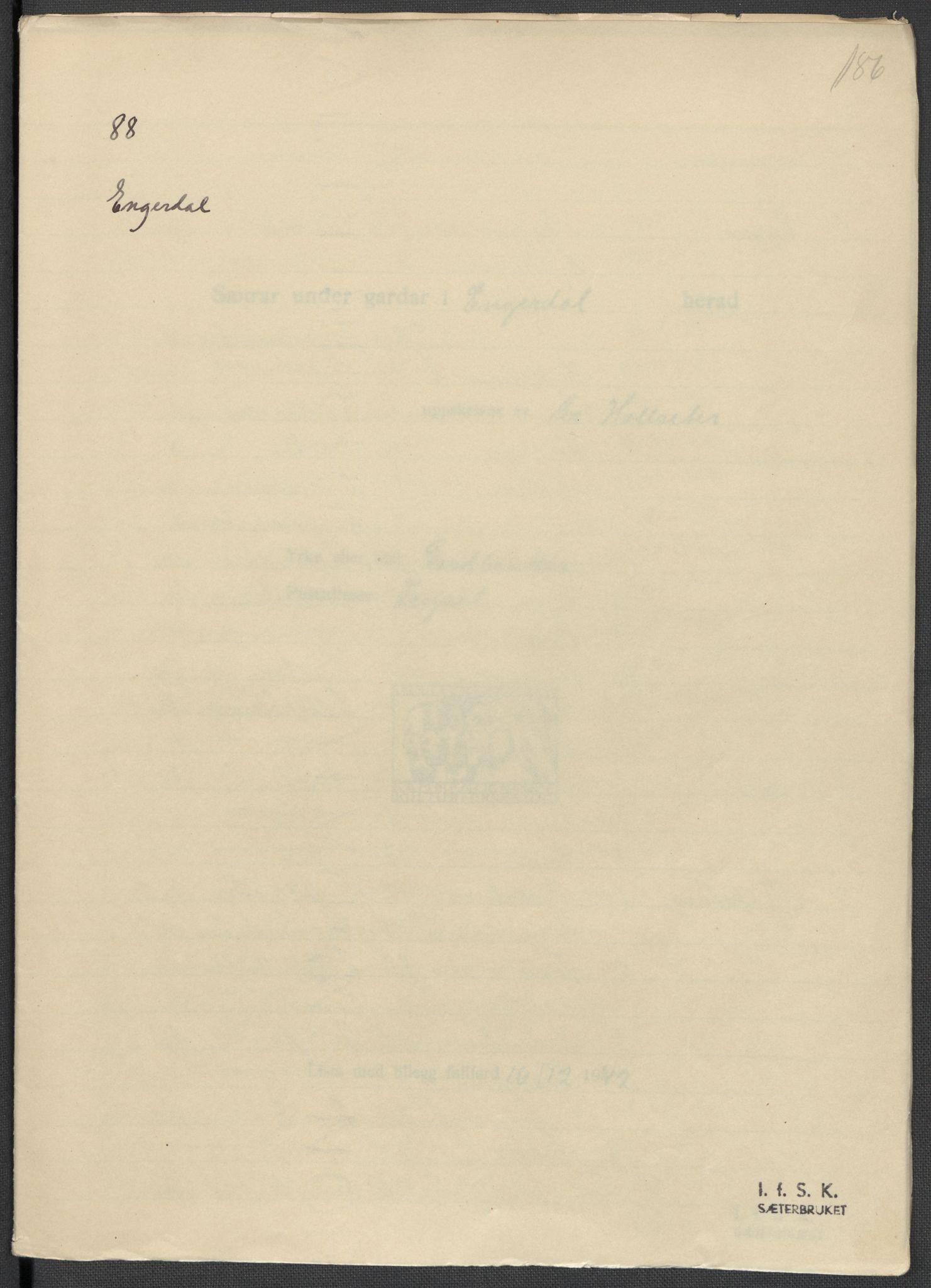RA, Instituttet for sammenlignende kulturforskning, F/Fc/L0003: Eske B3:, 1933-1939, s. 186