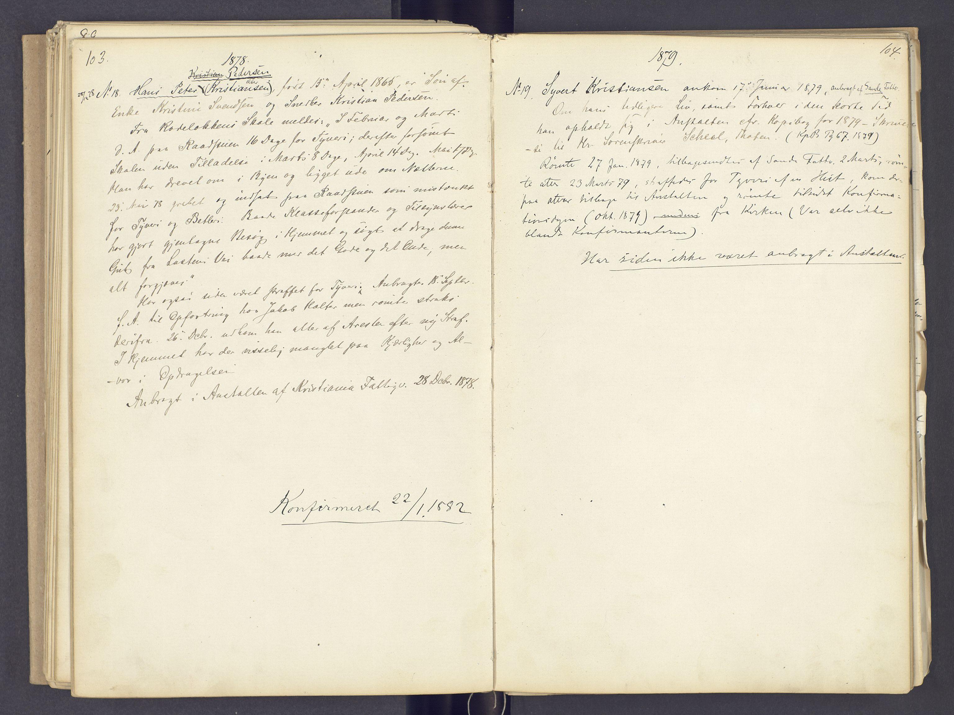 SAH, Toftes Gave, F/Fc/L0002: Elevprotokoll, 1870-1885, s. 103-104