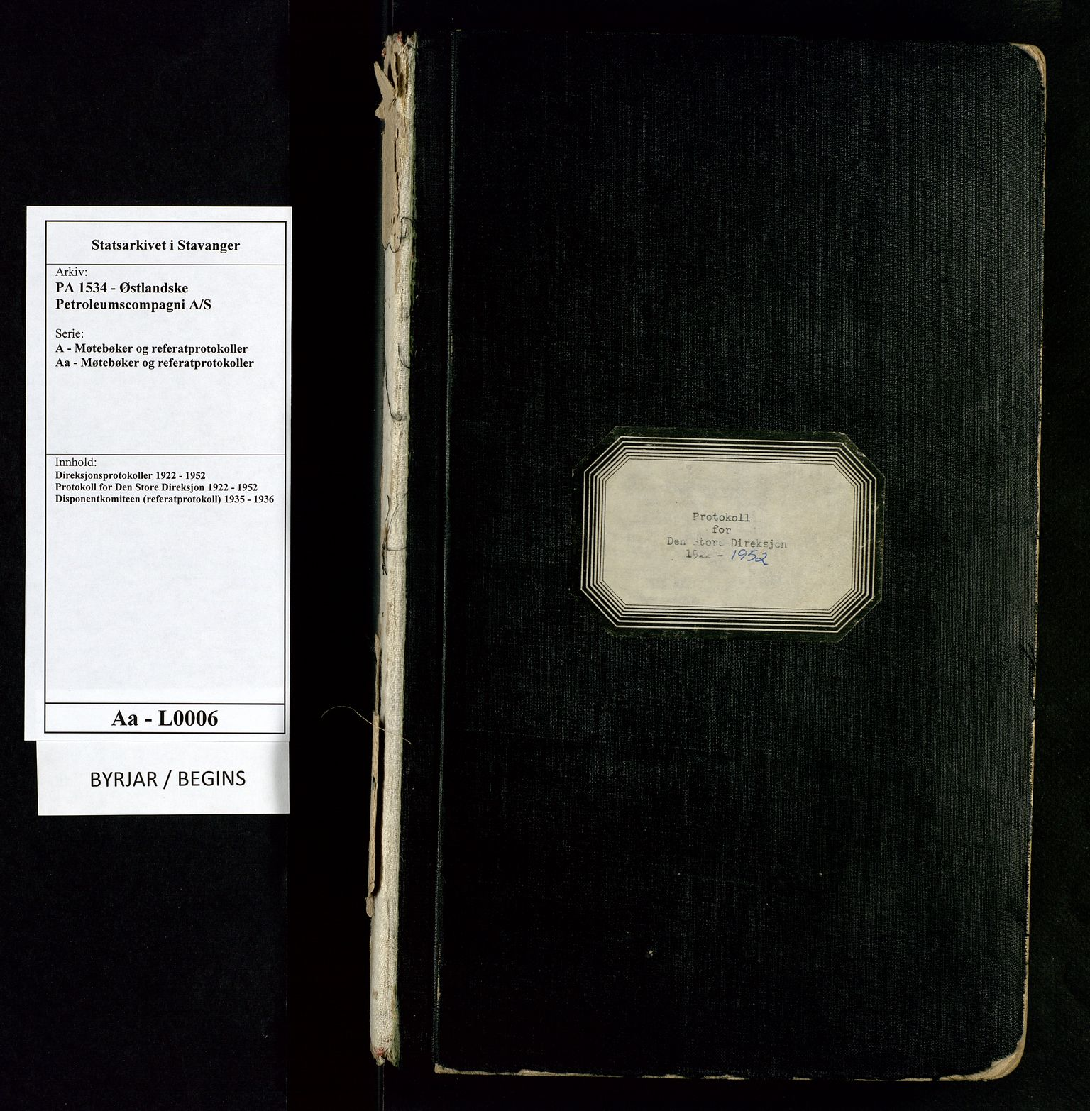 SAST, PA 1534 - Østlandske Petroleumscompagni A/S, A/Aa/L0006: Direksjonsprotokoller, 1922-1952, s. upaginert