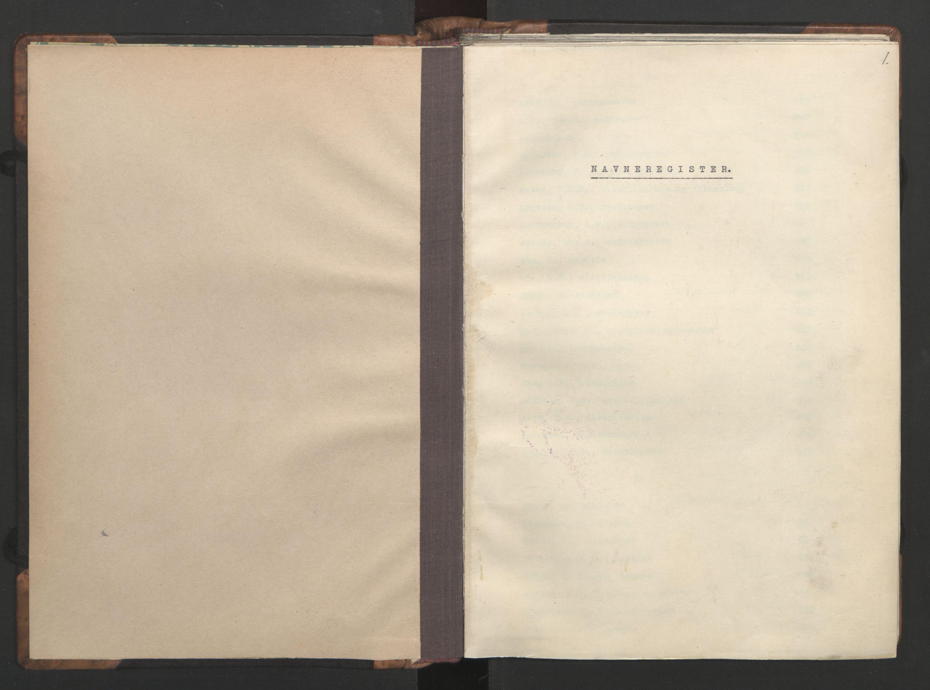 RA, NS-administrasjonen 1940-1945 (Statsrådsekretariatet, de kommisariske statsråder mm), D/Da/L0002: Register (RA j.nr. 985/1943, tilgangsnr. 17/1943), 1942, s. 1a