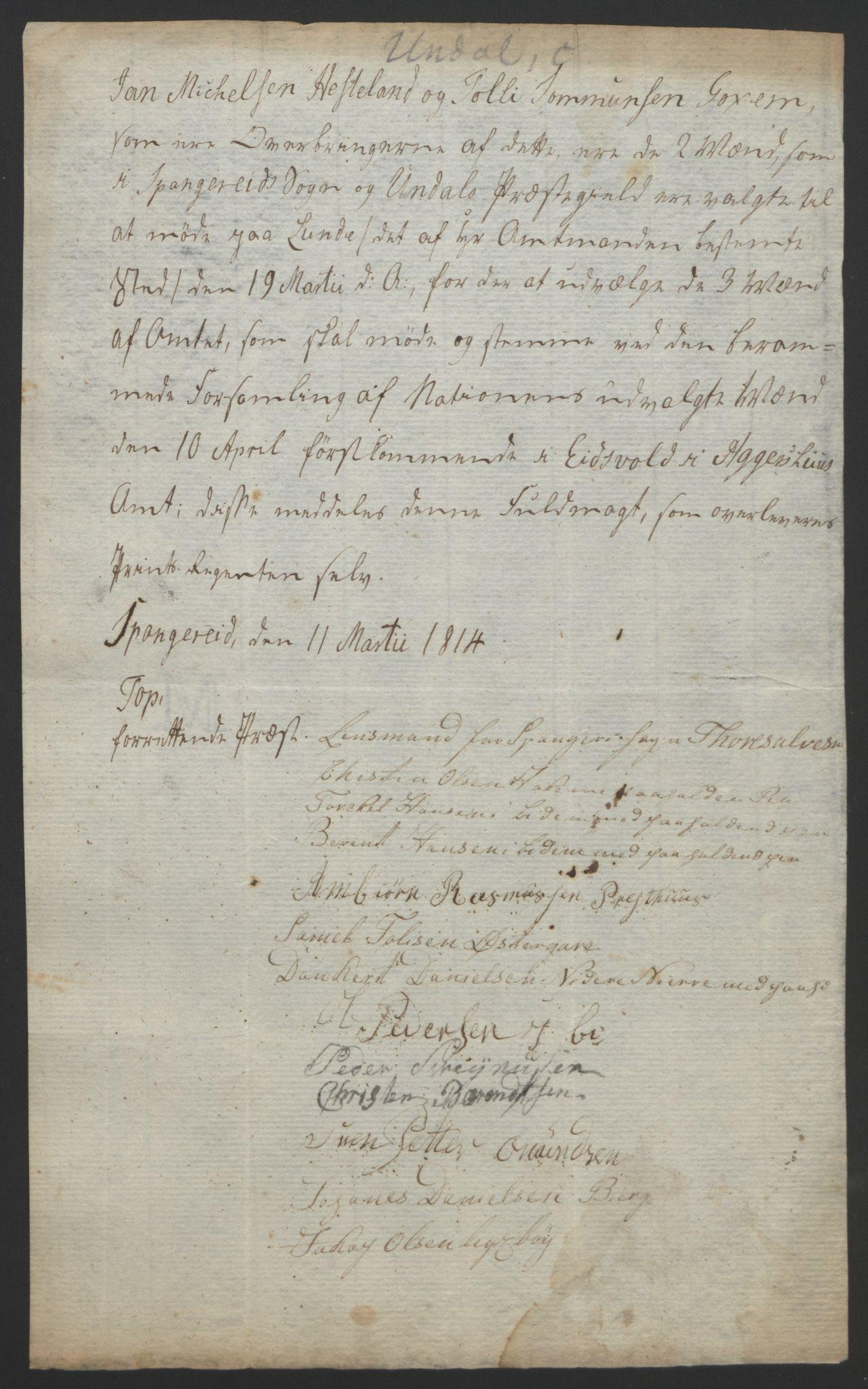 RA, Statsrådssekretariatet, D/Db/L0008: Fullmakter for Eidsvollsrepresentantene i 1814. , 1814, s. 140