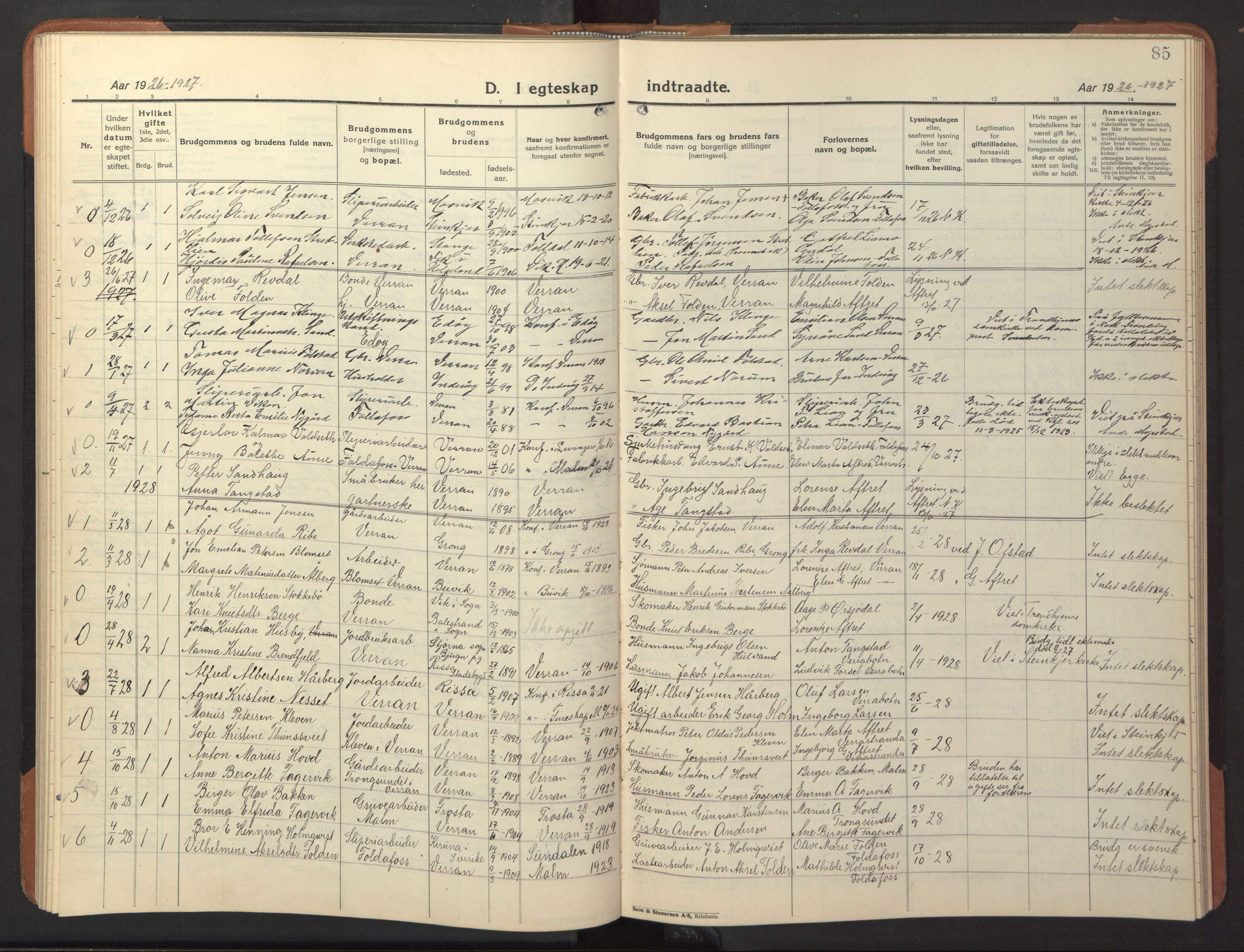 SAT, Ministerialprotokoller, klokkerbøker og fødselsregistre - Nord-Trøndelag, 744/L0425: Klokkerbok nr. 744C04, 1924-1947, s. 85