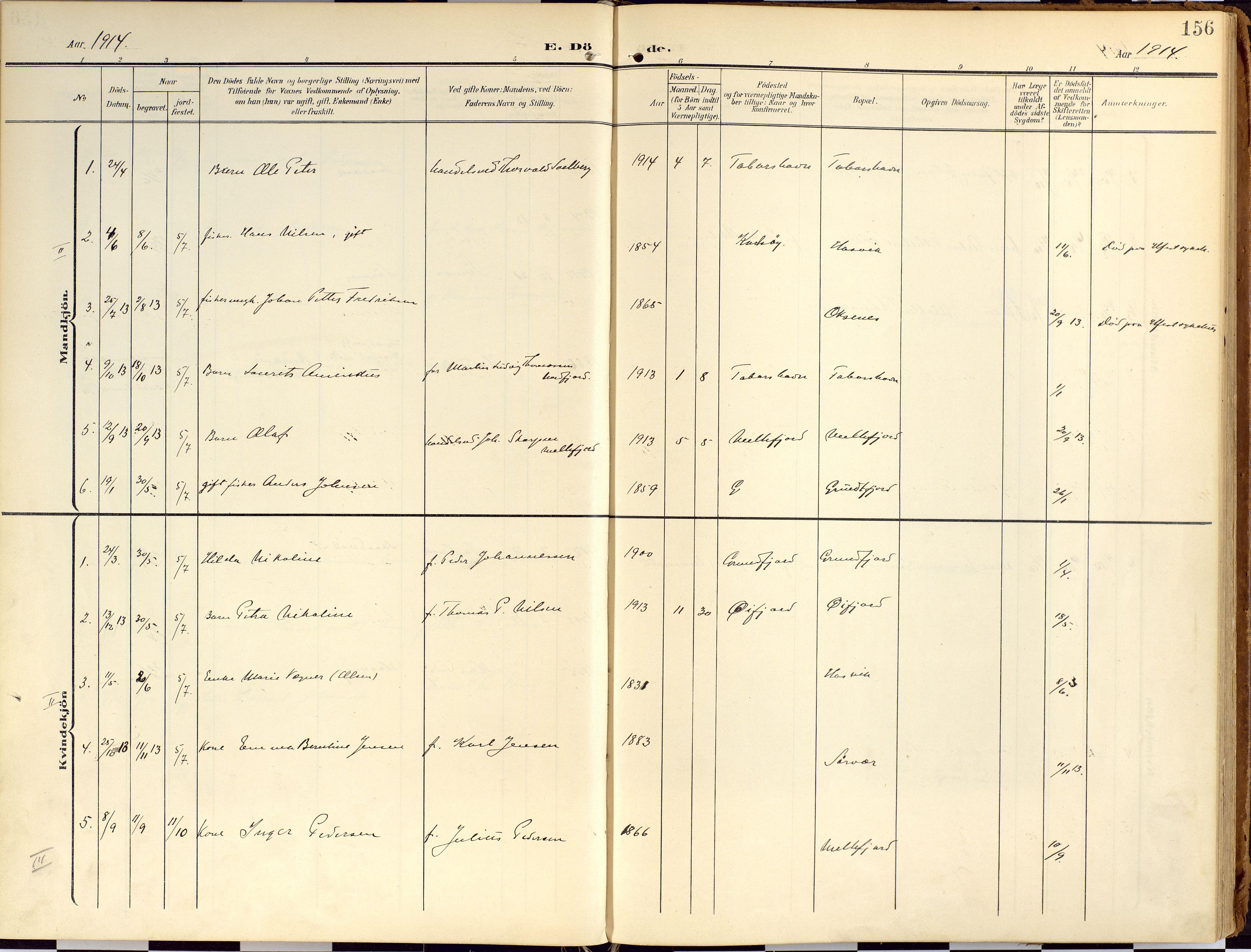 SATØ, Loppa sokneprestkontor, H/Ha/L0010kirke: Ministerialbok nr. 10, 1907-1922, s. 156