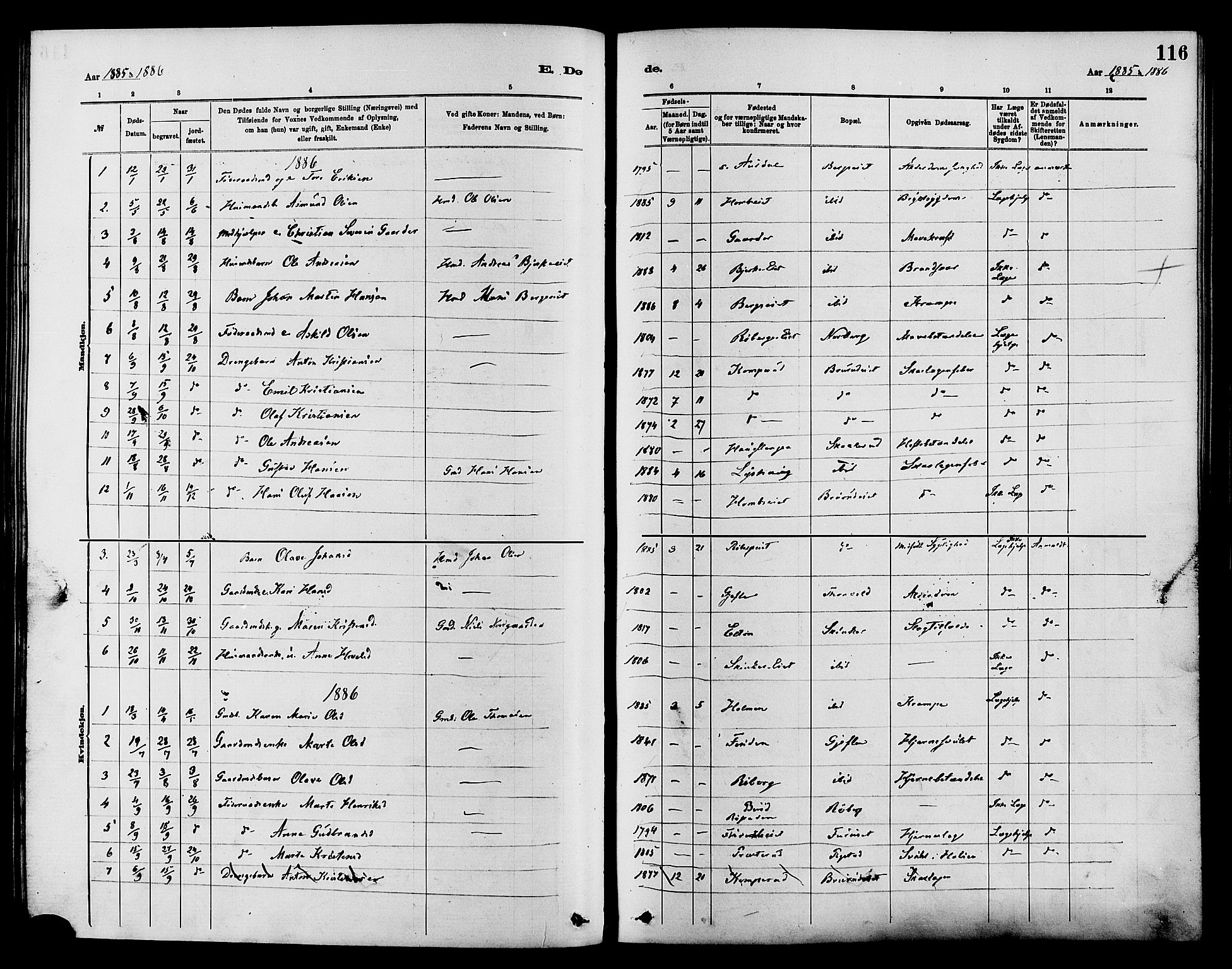 SAH, Nordre Land prestekontor, Ministerialbok nr. 3, 1882-1896, s. 116