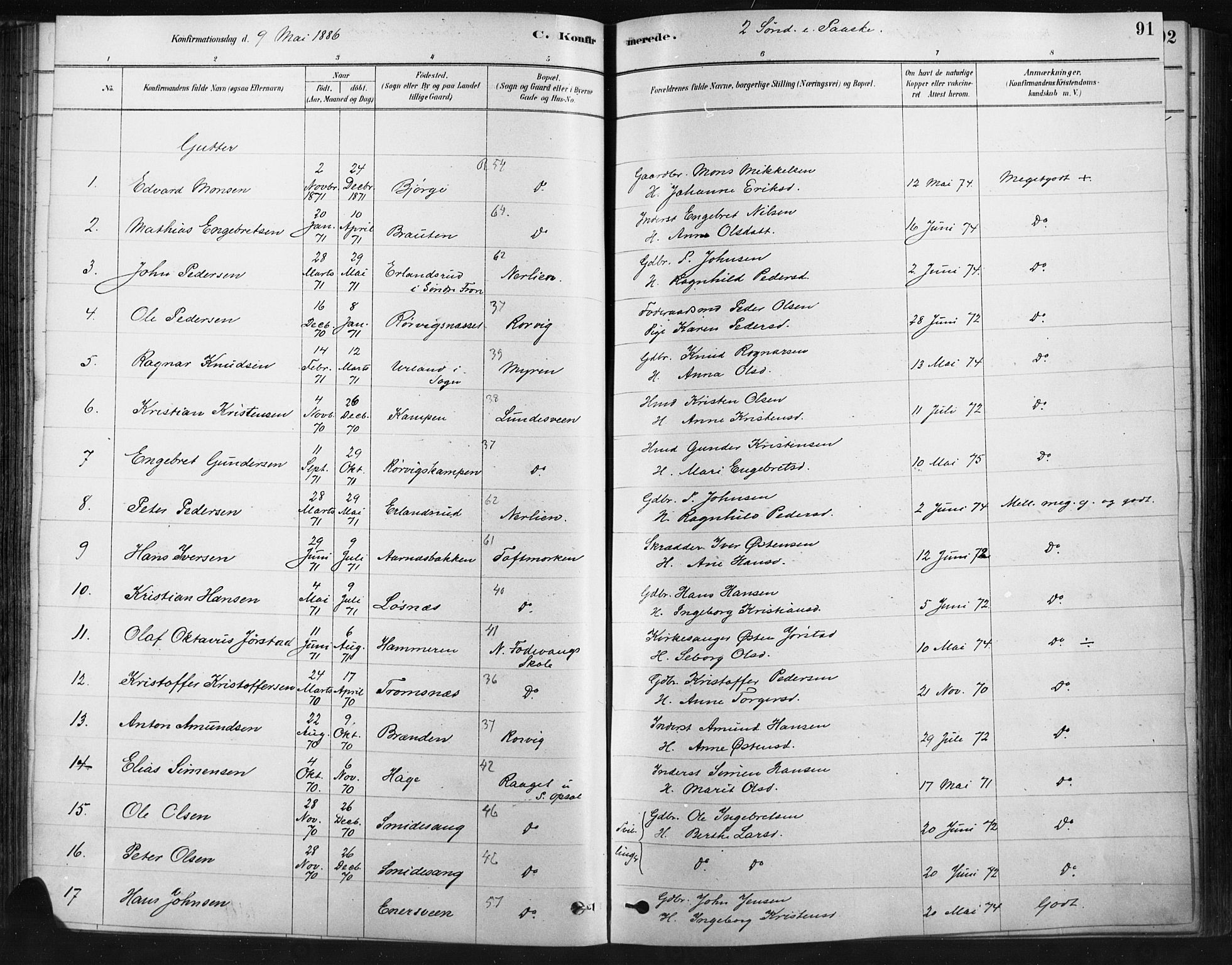 SAH, Ringebu prestekontor, Ministerialbok nr. 9, 1878-1898, s. 91