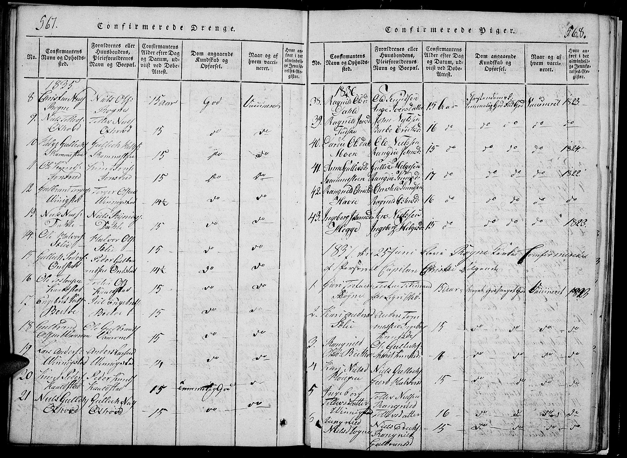 SAH, Slidre prestekontor, Klokkerbok nr. 2, 1814-1839, s. 567-568