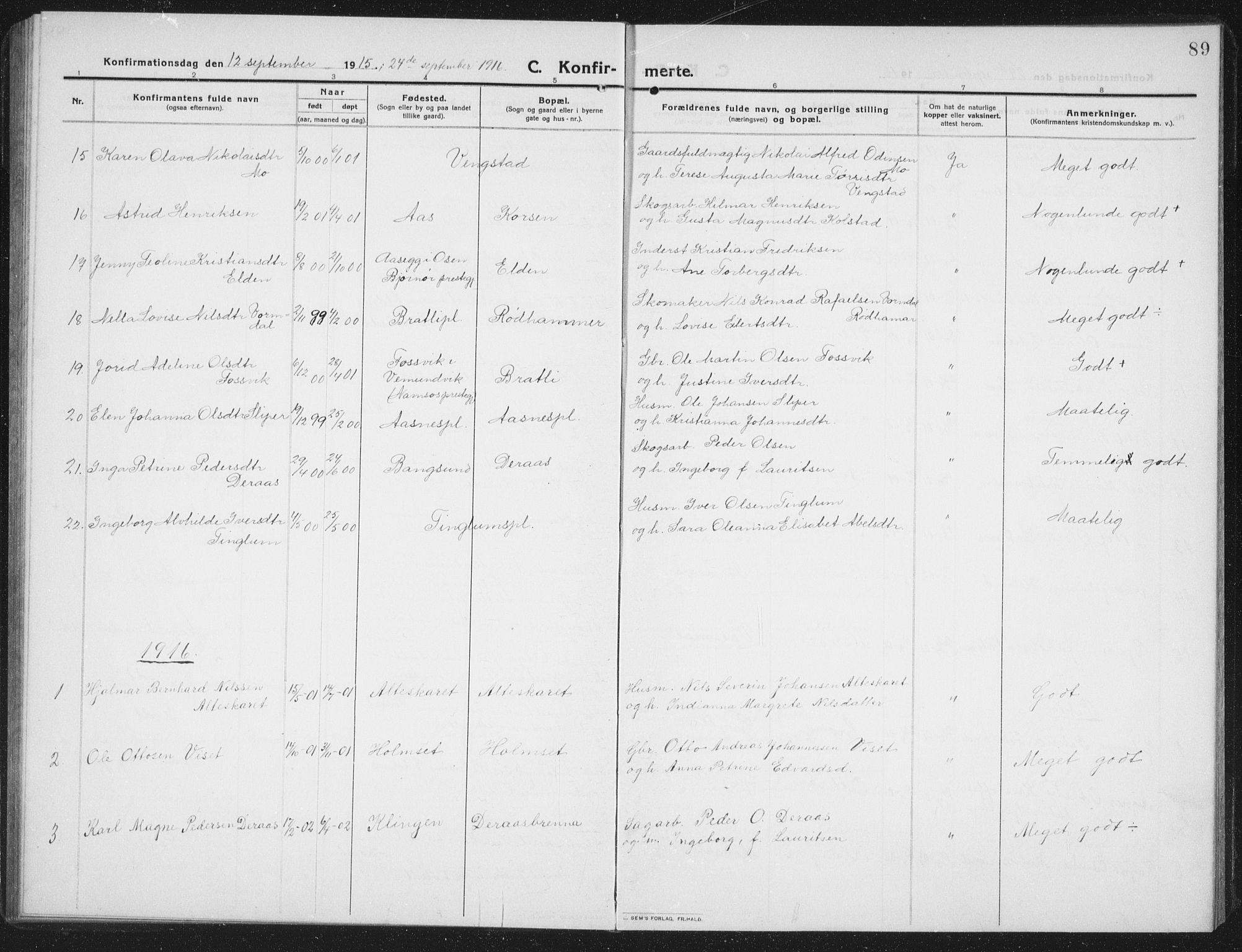 SAT, Ministerialprotokoller, klokkerbøker og fødselsregistre - Nord-Trøndelag, 742/L0413: Klokkerbok nr. 742C04, 1911-1938, s. 89