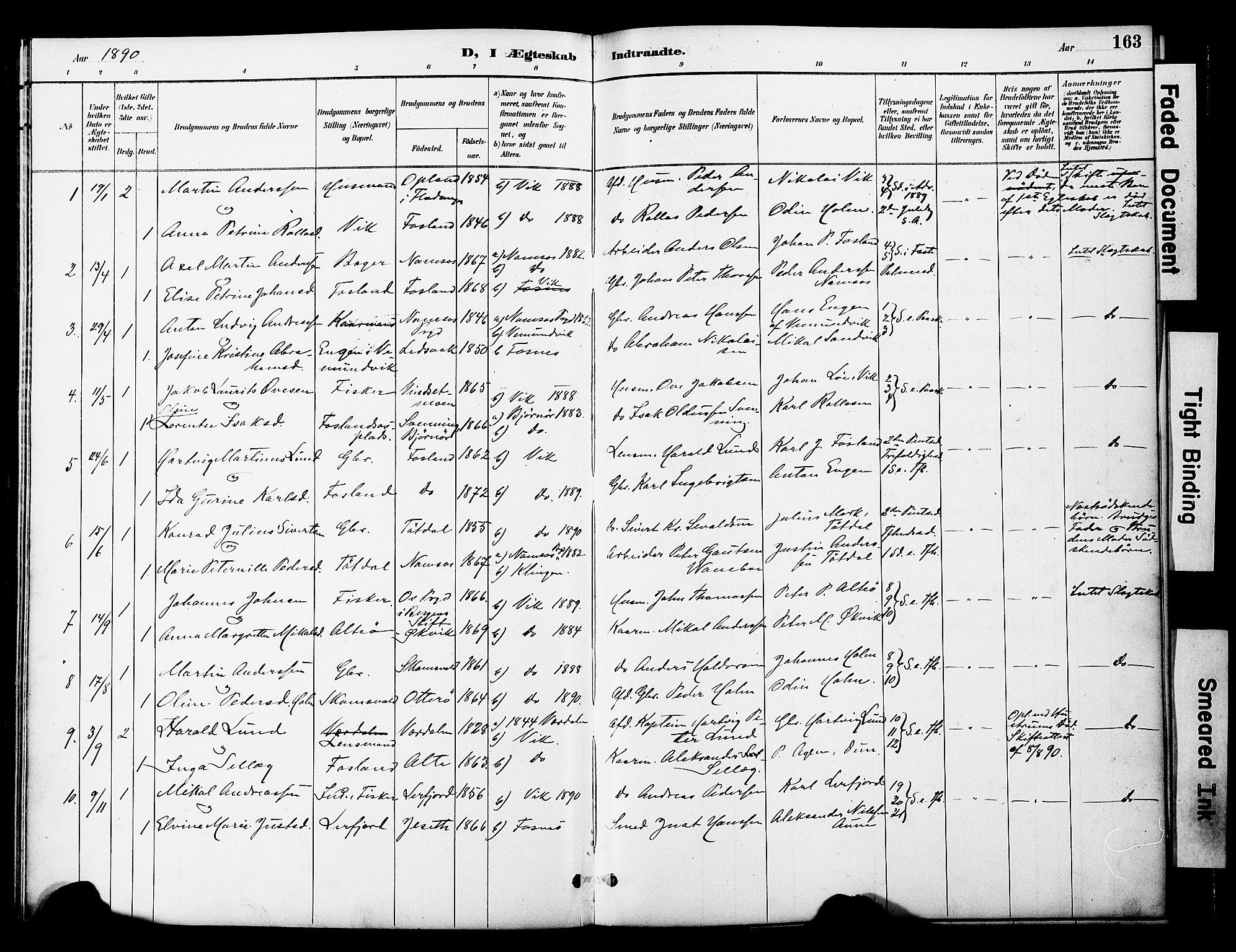 SAT, Ministerialprotokoller, klokkerbøker og fødselsregistre - Nord-Trøndelag, 774/L0628: Ministerialbok nr. 774A02, 1887-1903, s. 163