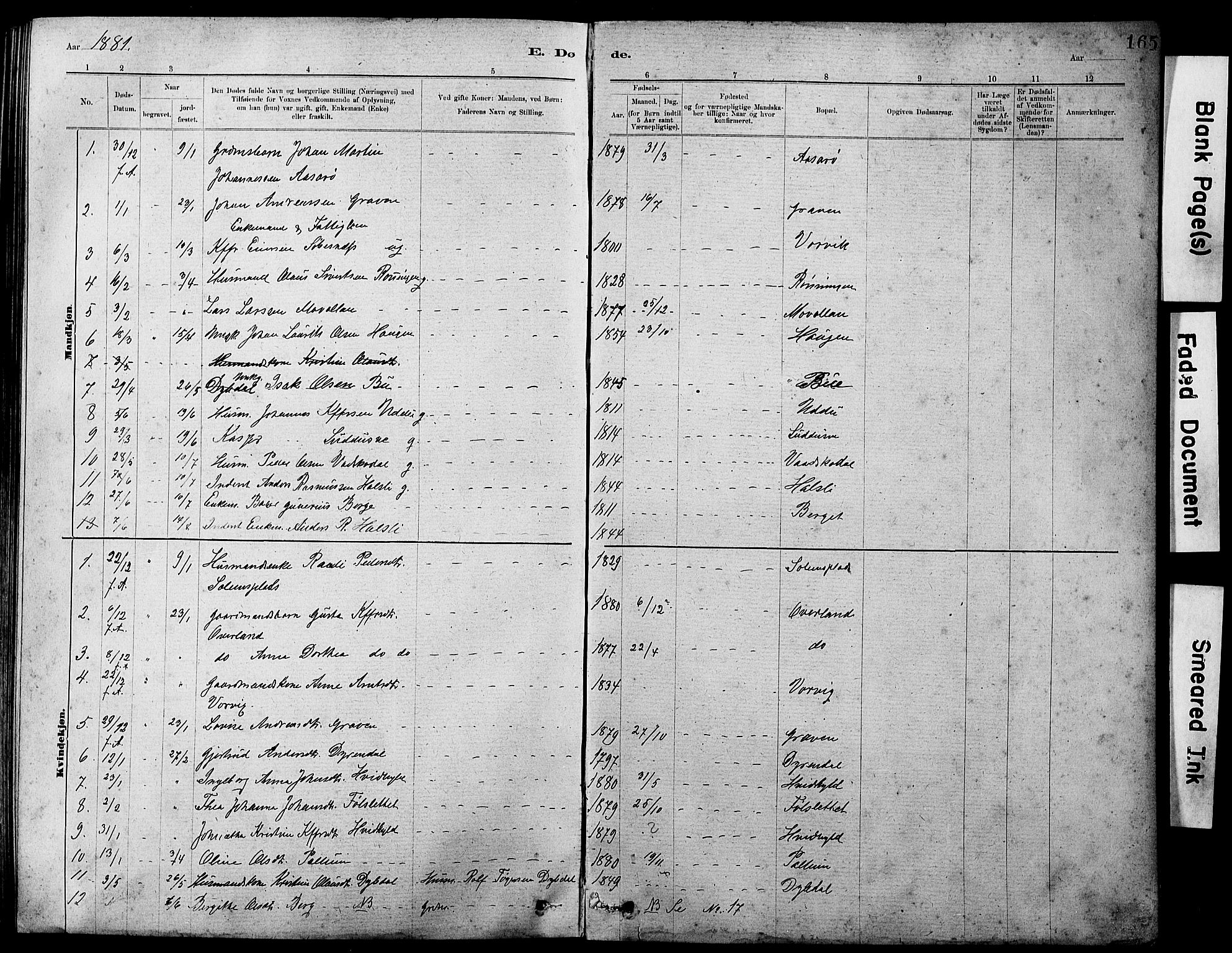 SAT, Ministerialprotokoller, klokkerbøker og fødselsregistre - Sør-Trøndelag, 647/L0636: Klokkerbok nr. 647C01, 1881-1884, s. 165